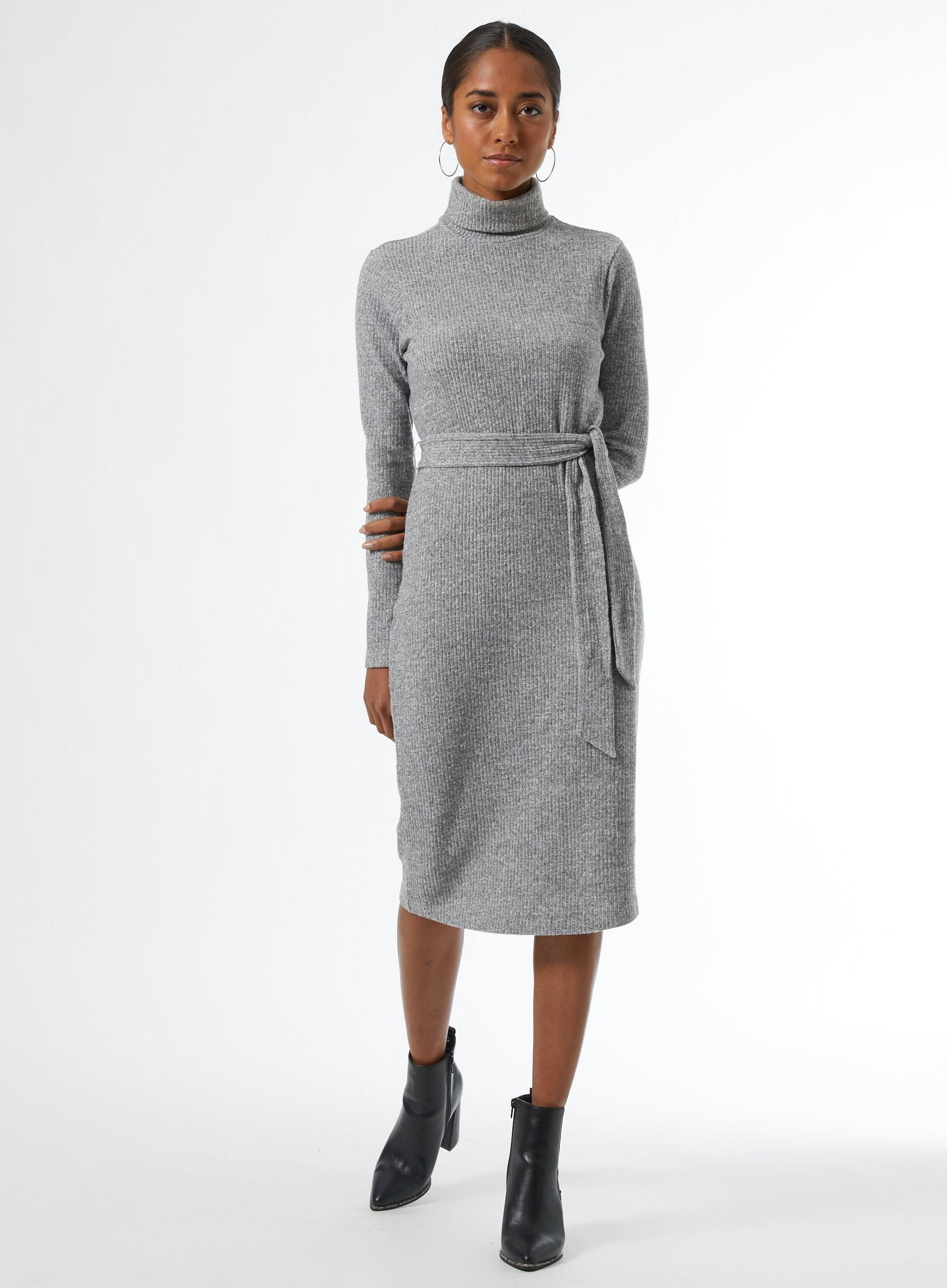 Petite Grey Rib Roll Neck Midi Dress