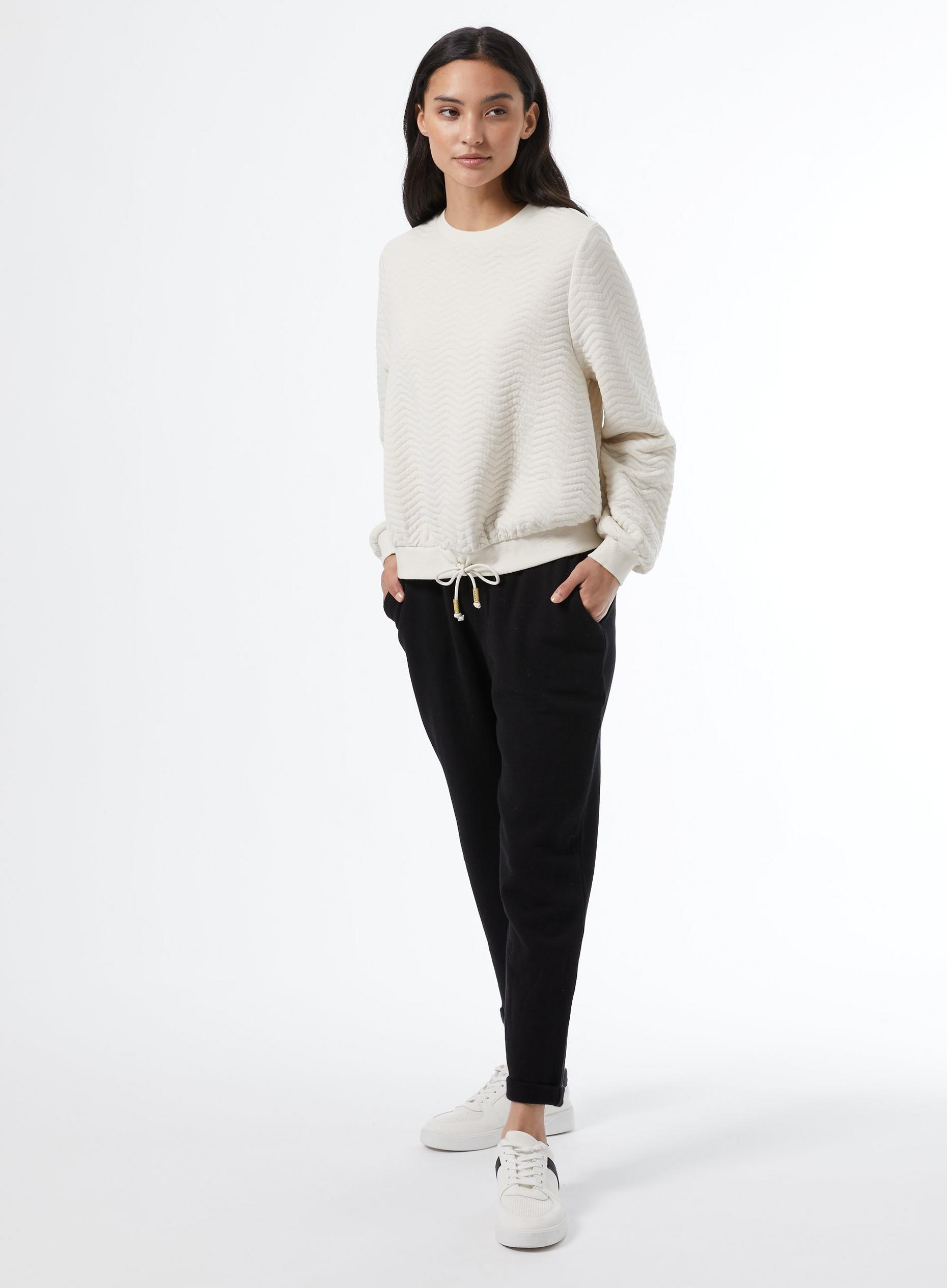 Petite Cream Jacquard Sweat Top
