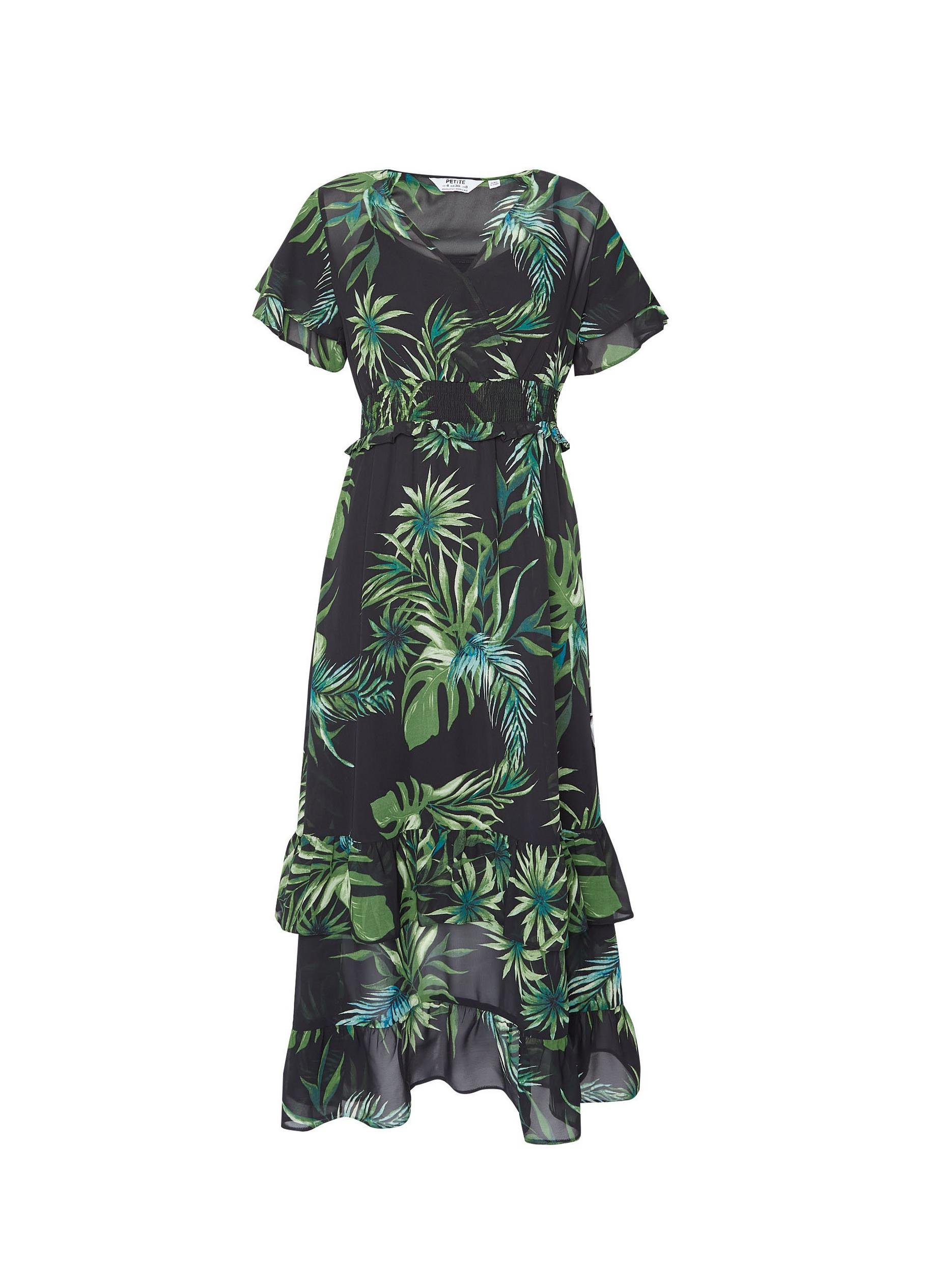 Petite Tropical Print Ruffle Maxi Dress