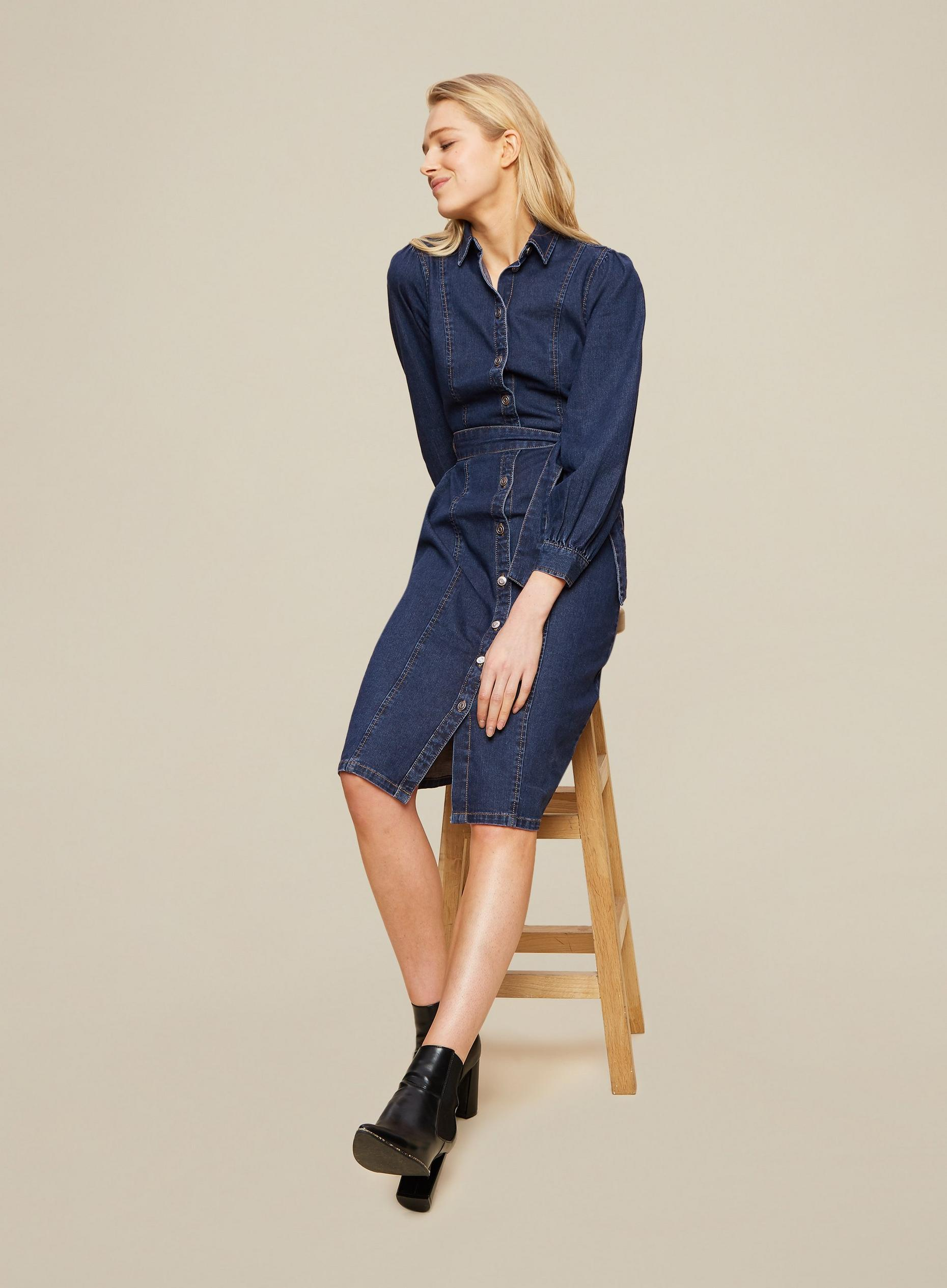 Blue Fitted Denim Shirt Dress