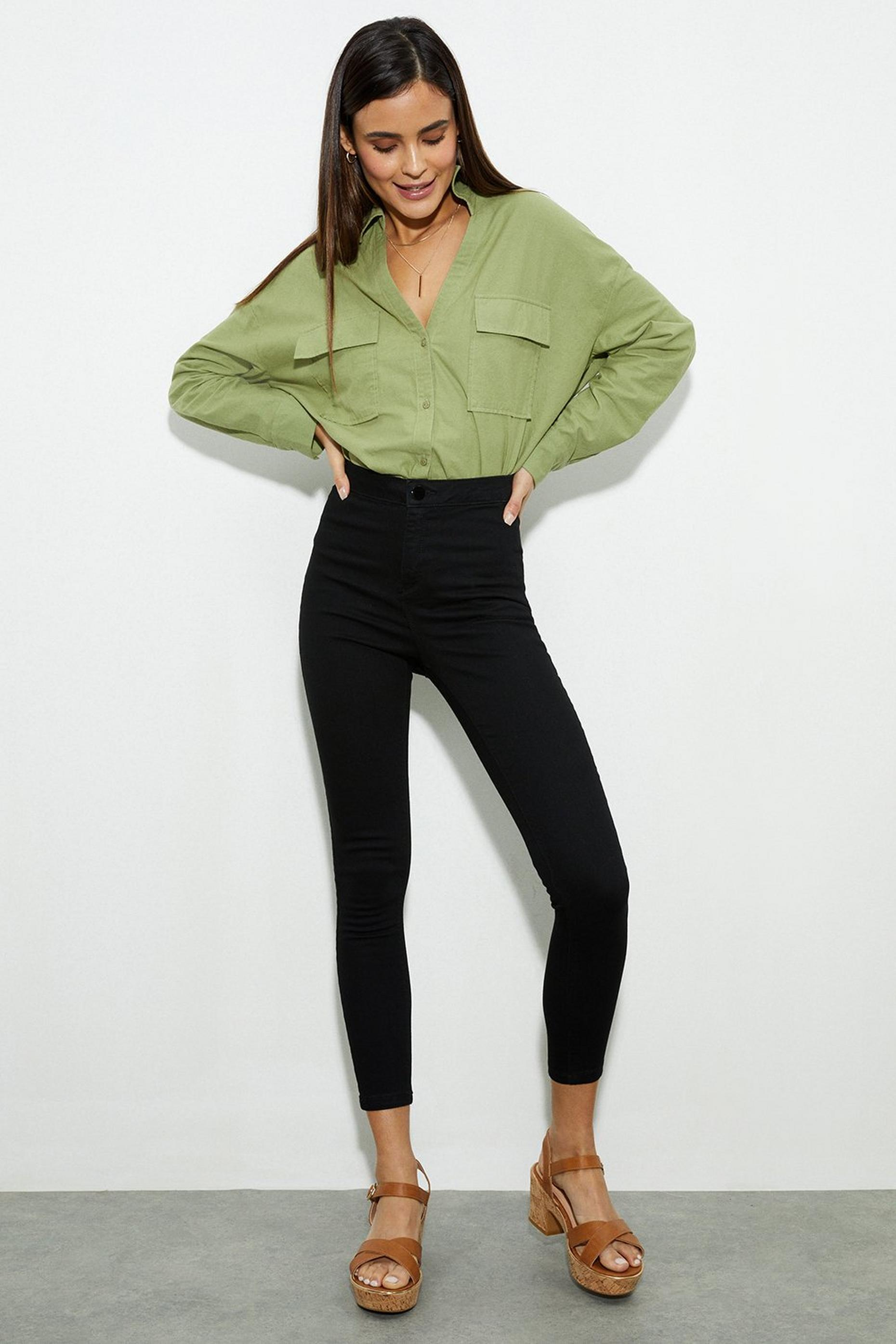 Black Short Lyla High Waisted Skinny Jeans
