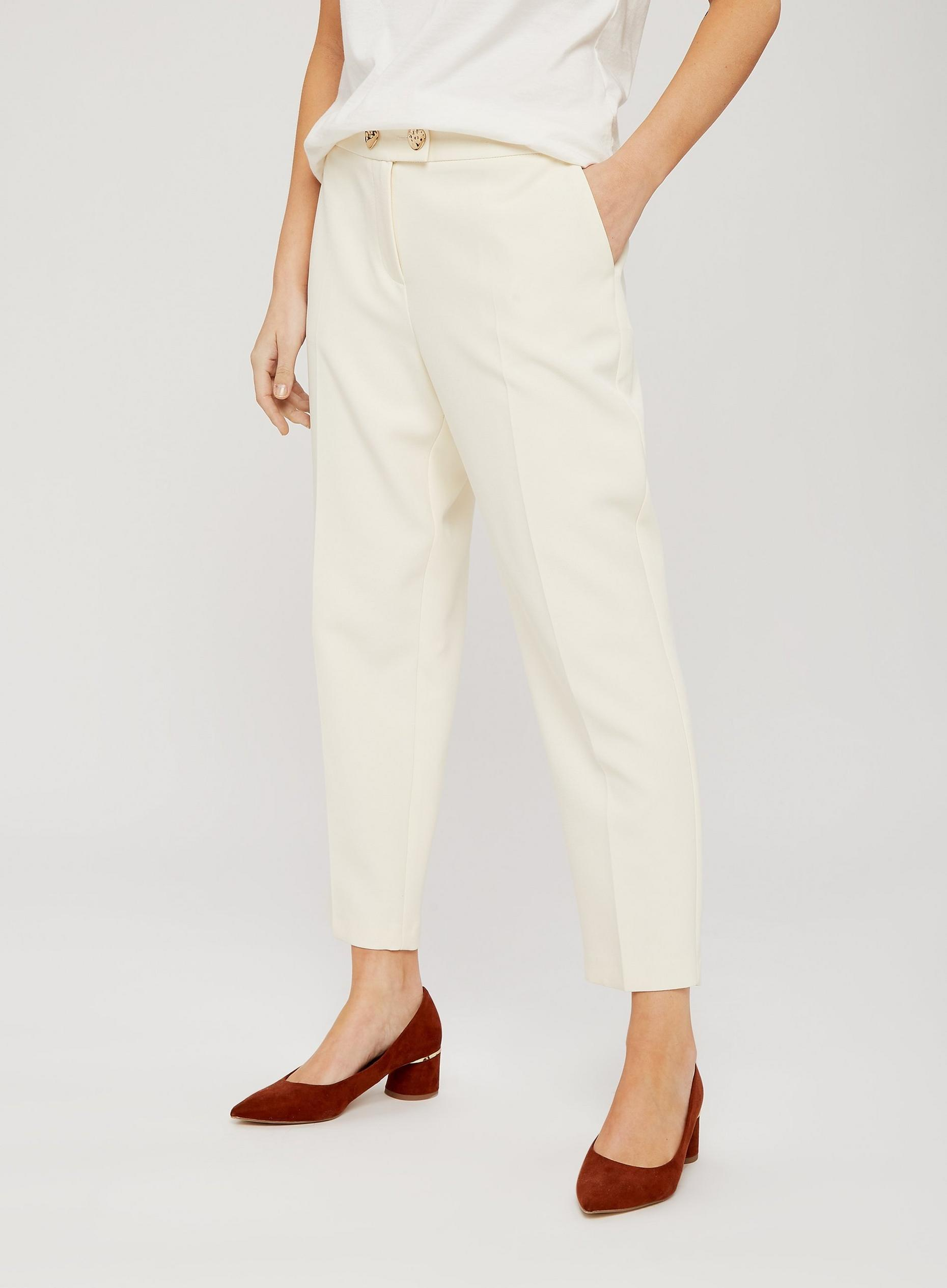 Petite Ivory Gold Button Trousers