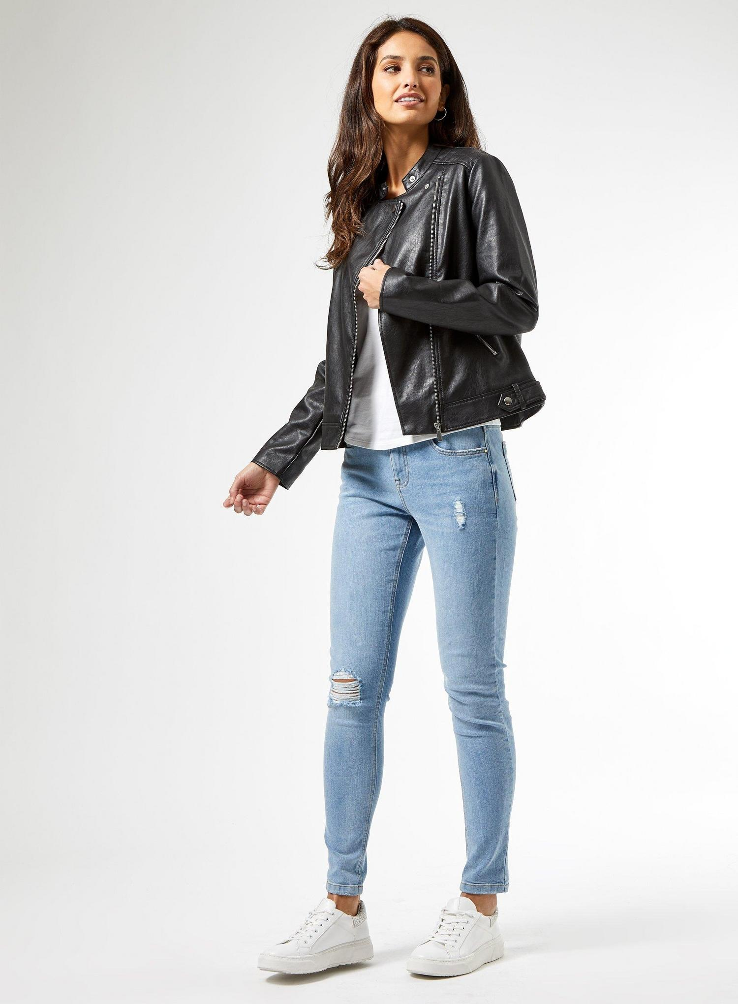 105 Black Faux Leather Collarless Jacket image number 1