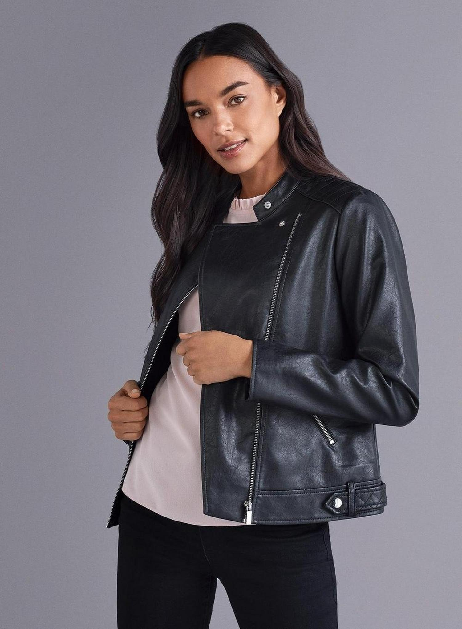 105 Black Faux Leather Collarless Jacket image number 2