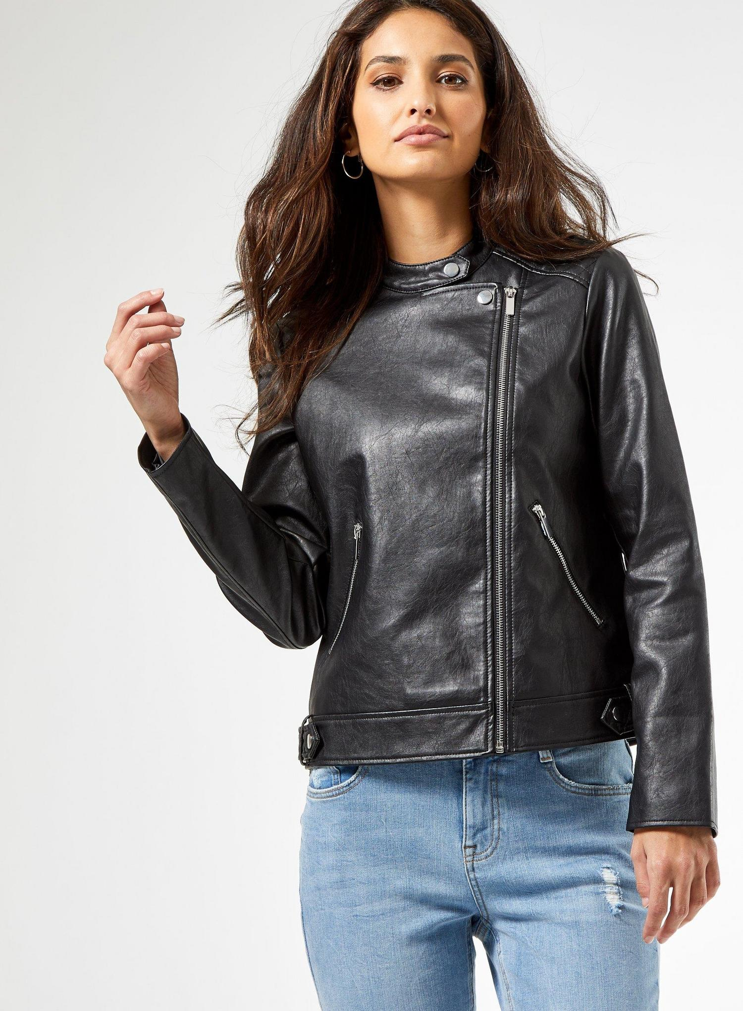 105 Black Faux Leather Collarless Jacket image number 3