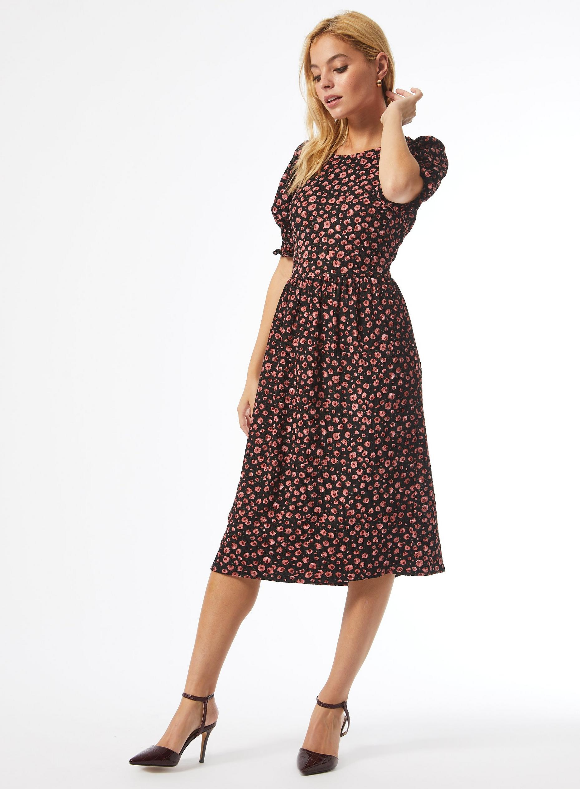Petite Floral Print Shirred Cuff Midi Dress