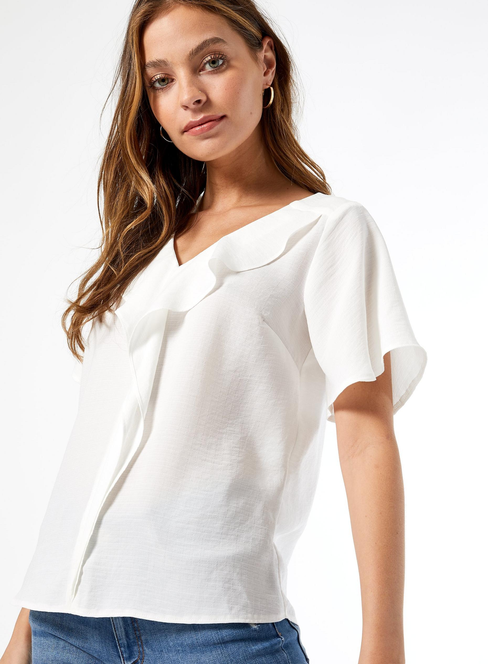 Petite White Ruffle Front Top