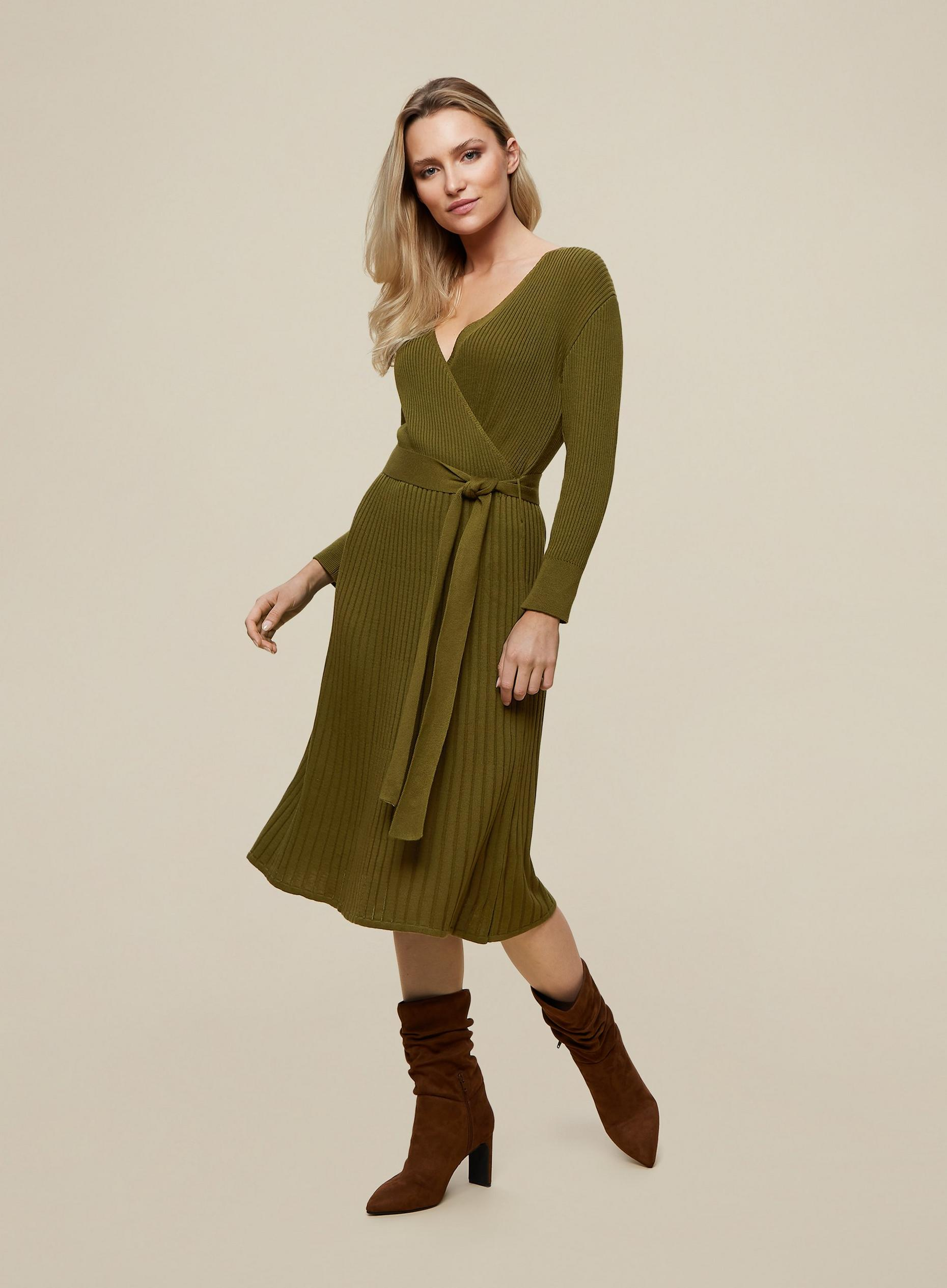 Khaki Rib Long Sleeve Wrap Dress