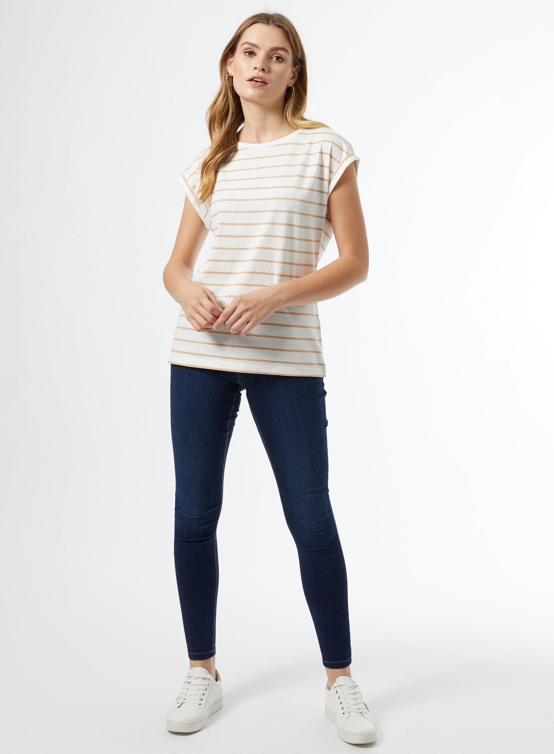 White and Neutral Striped Roll Sleeve Top