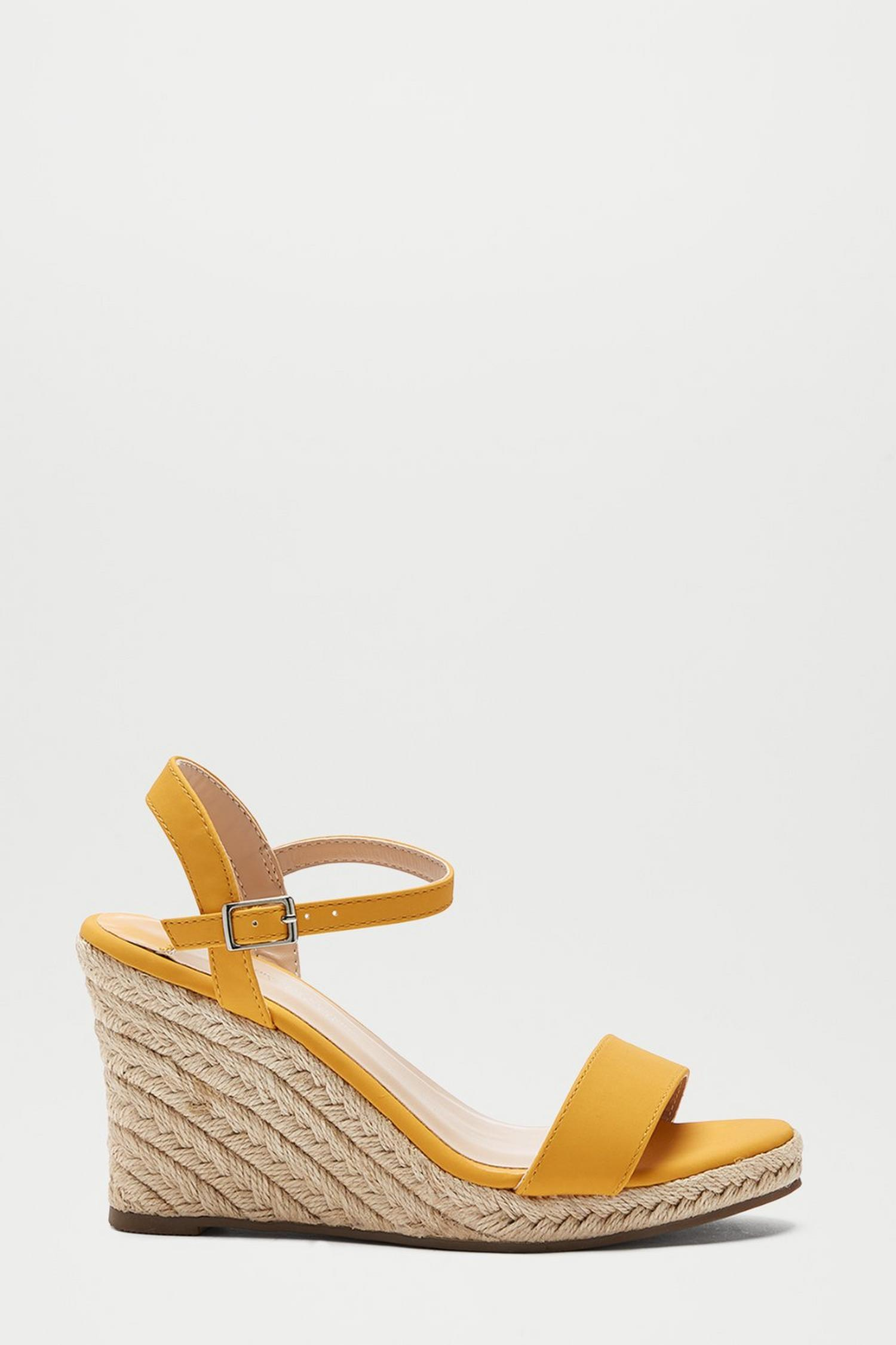 174 Wide Fit Yellow Ray Ray Wedge Sandals image number 1