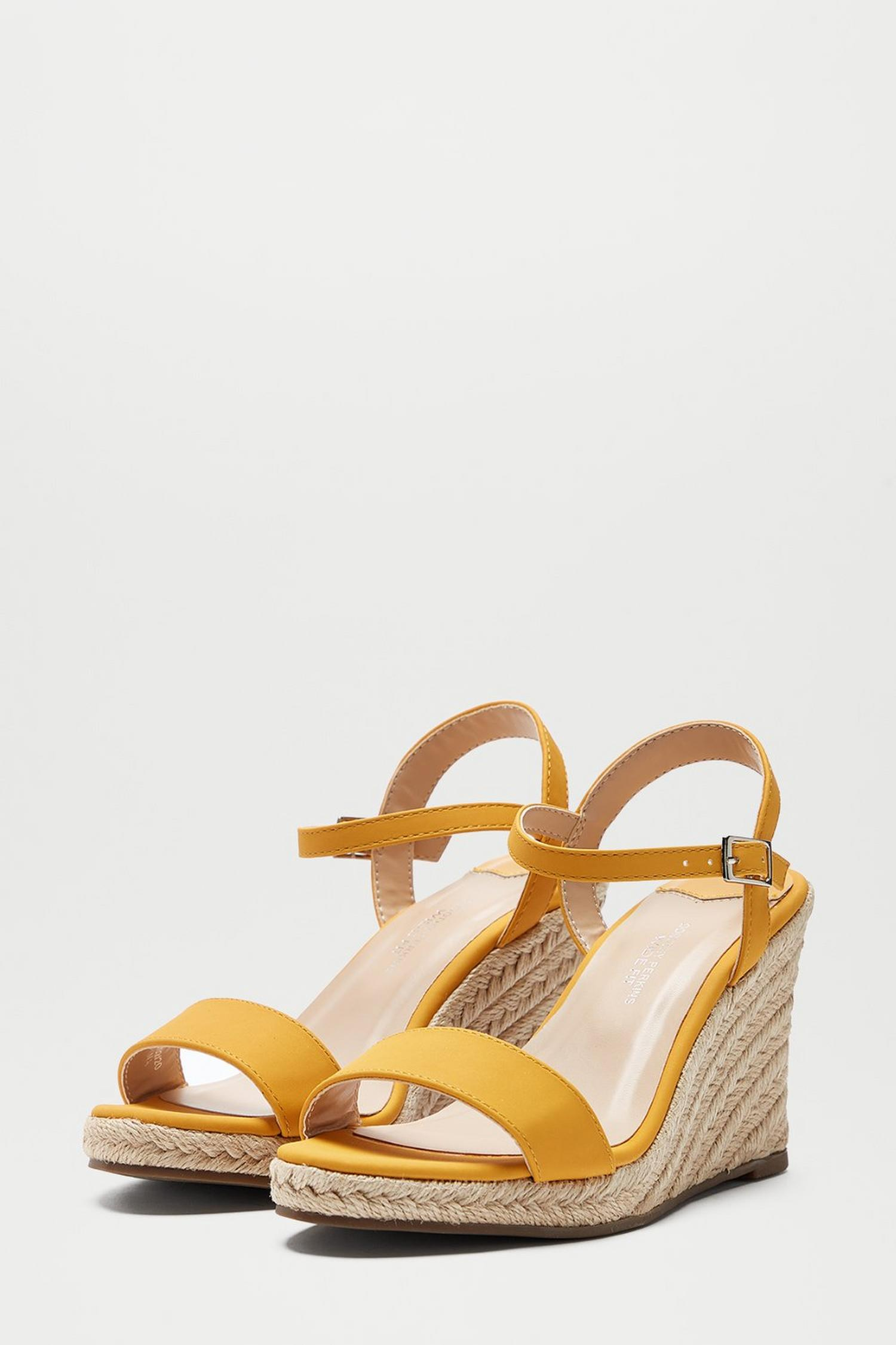 174 Wide Fit Yellow Ray Ray Wedge Sandals image number 2