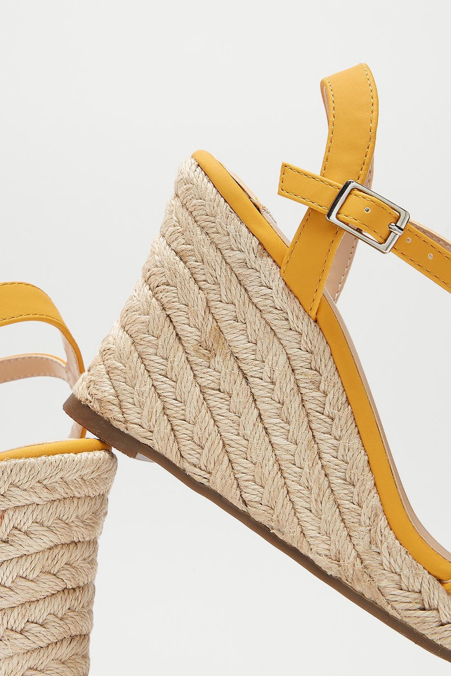 174 Wide Fit Yellow Ray Ray Wedge Sandals image number 3