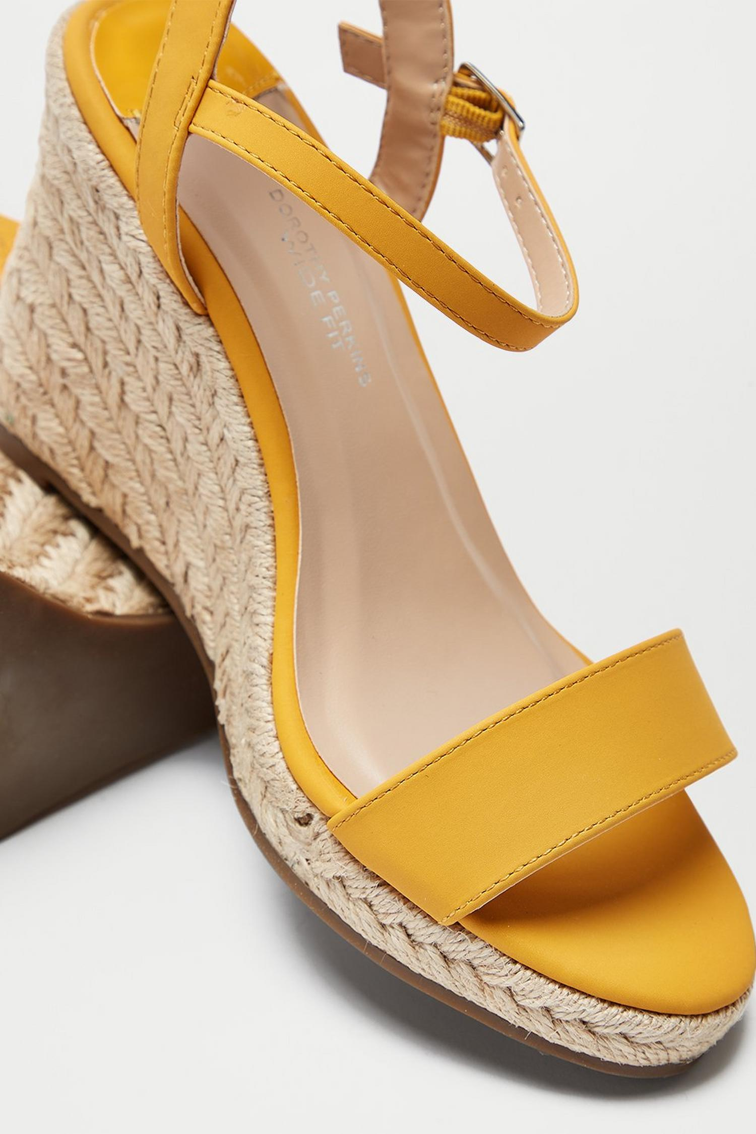 174 Wide Fit Yellow Ray Ray Wedge Sandals image number 4