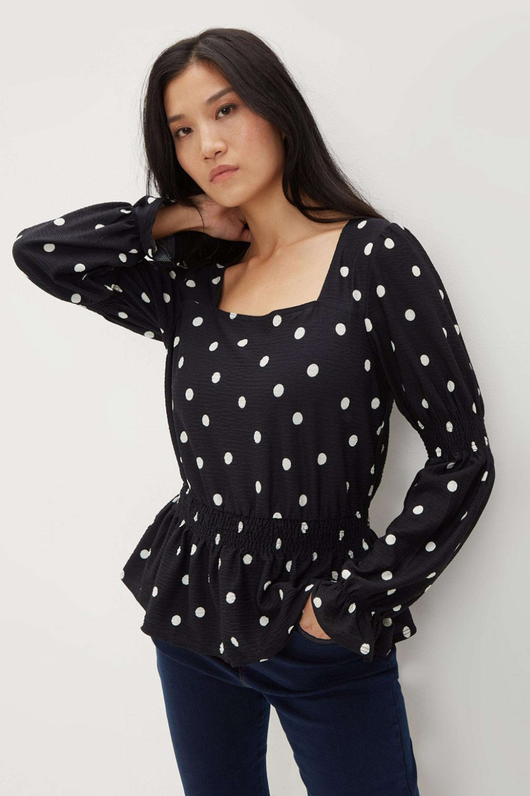 Black Spot Print Textured Top