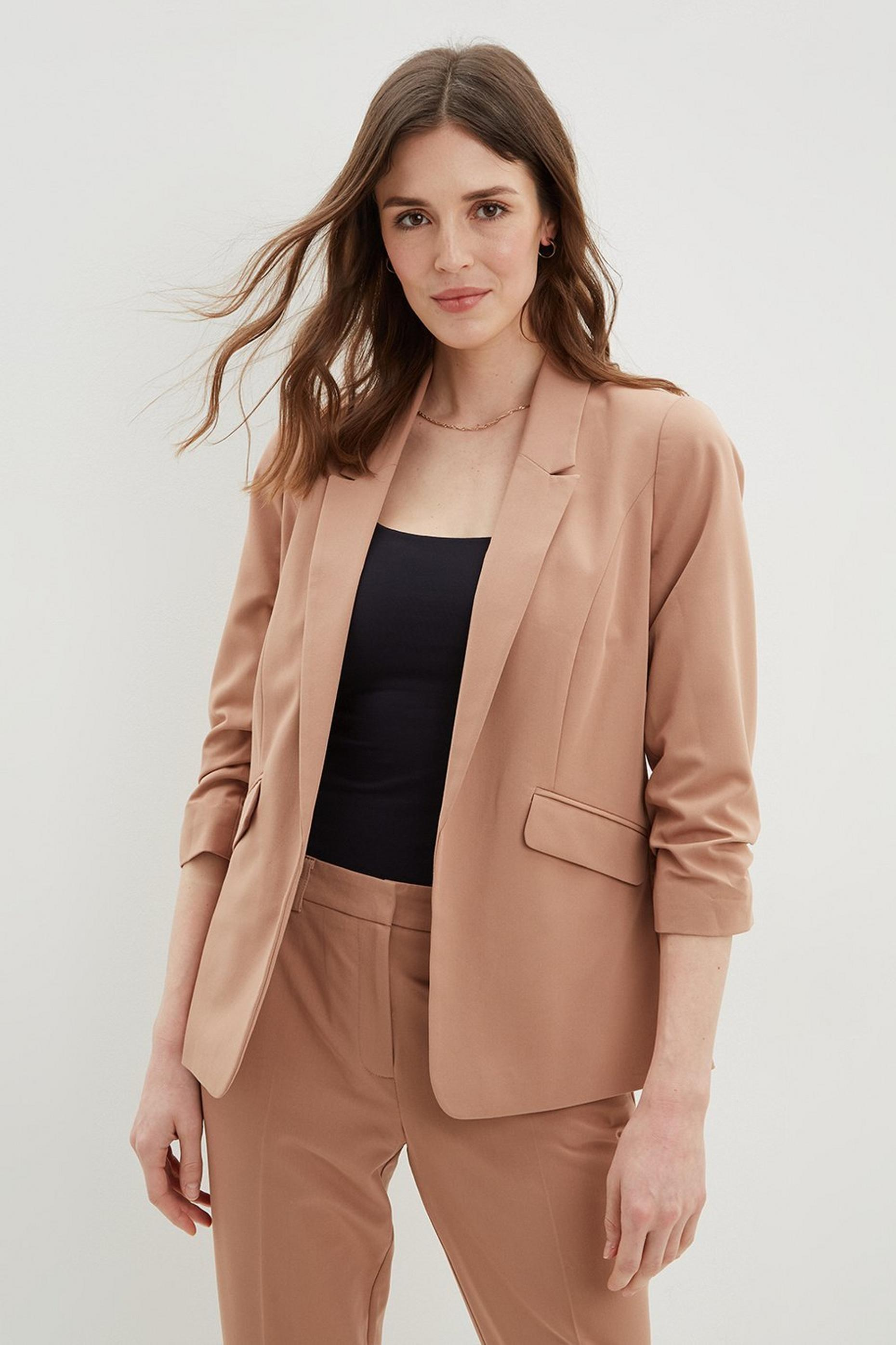 Camel Ruched Sleeve Jacket