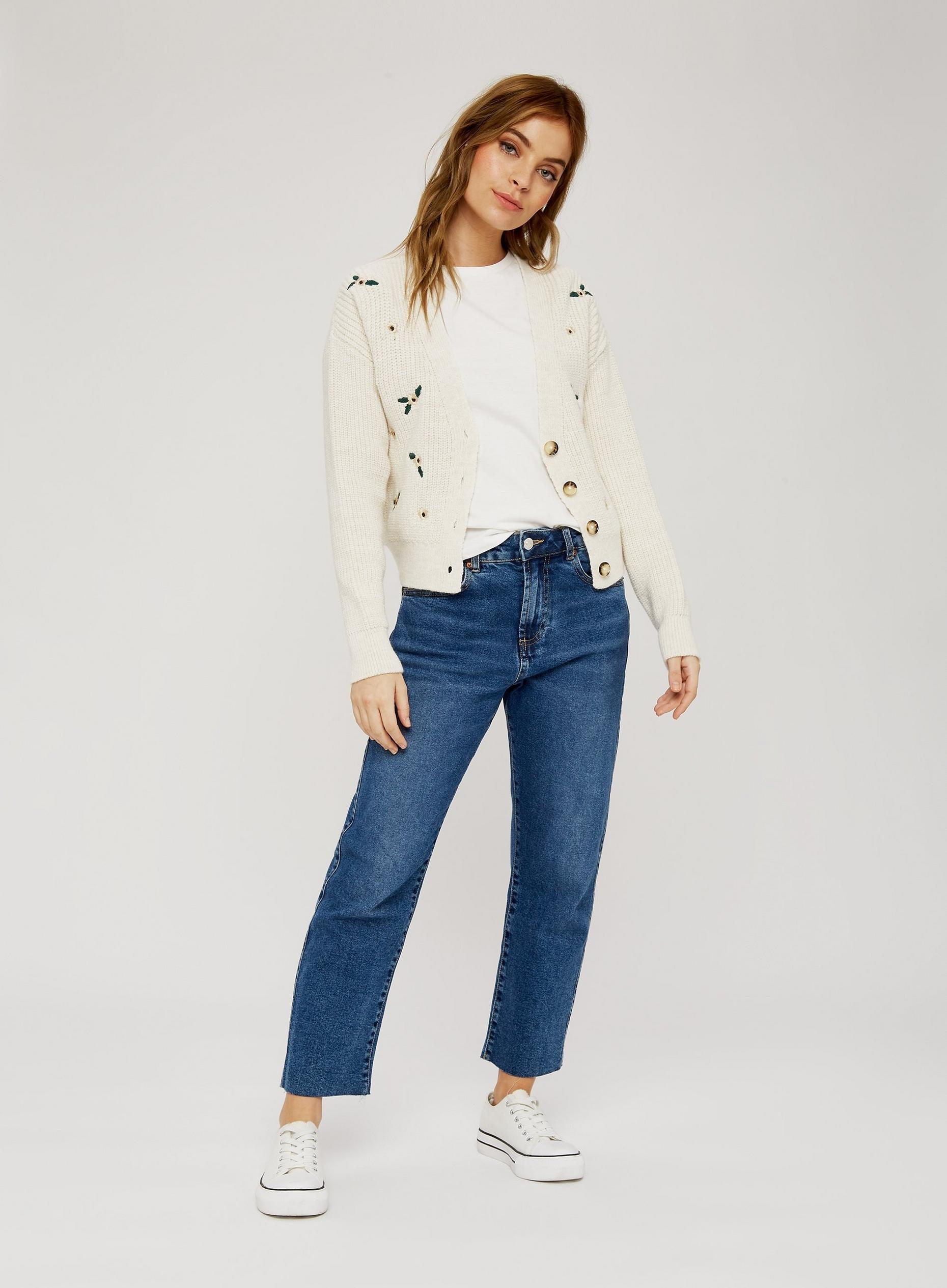Petite Cream Embroidered Cardigan