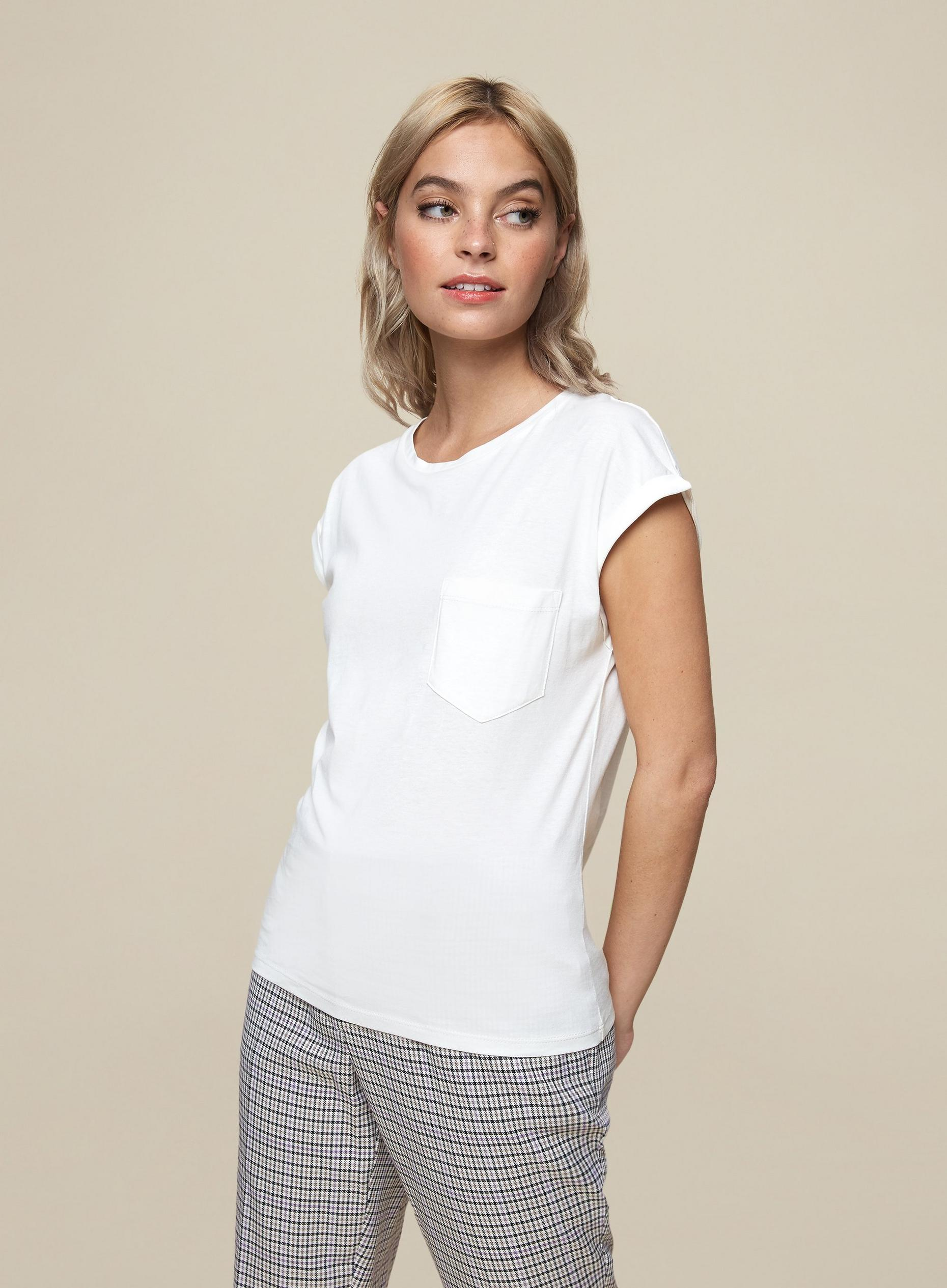 Petite White Pocket Detail T-Shirt