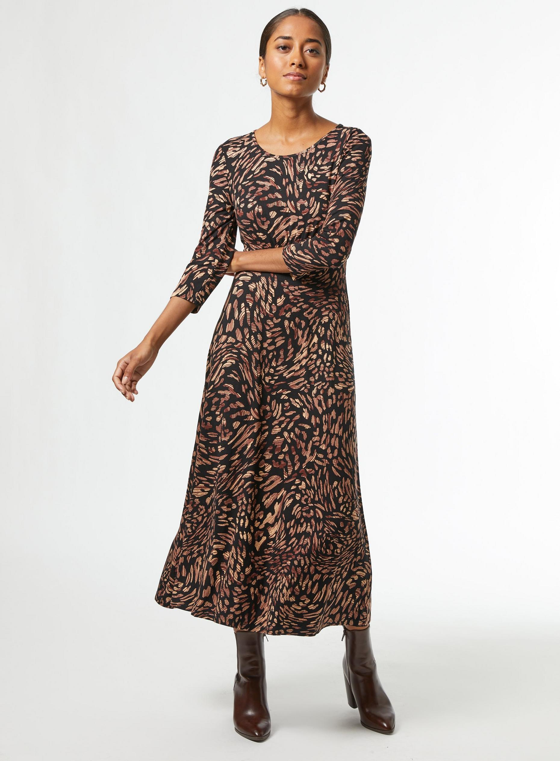 Petite Animal Seam Midi Dress