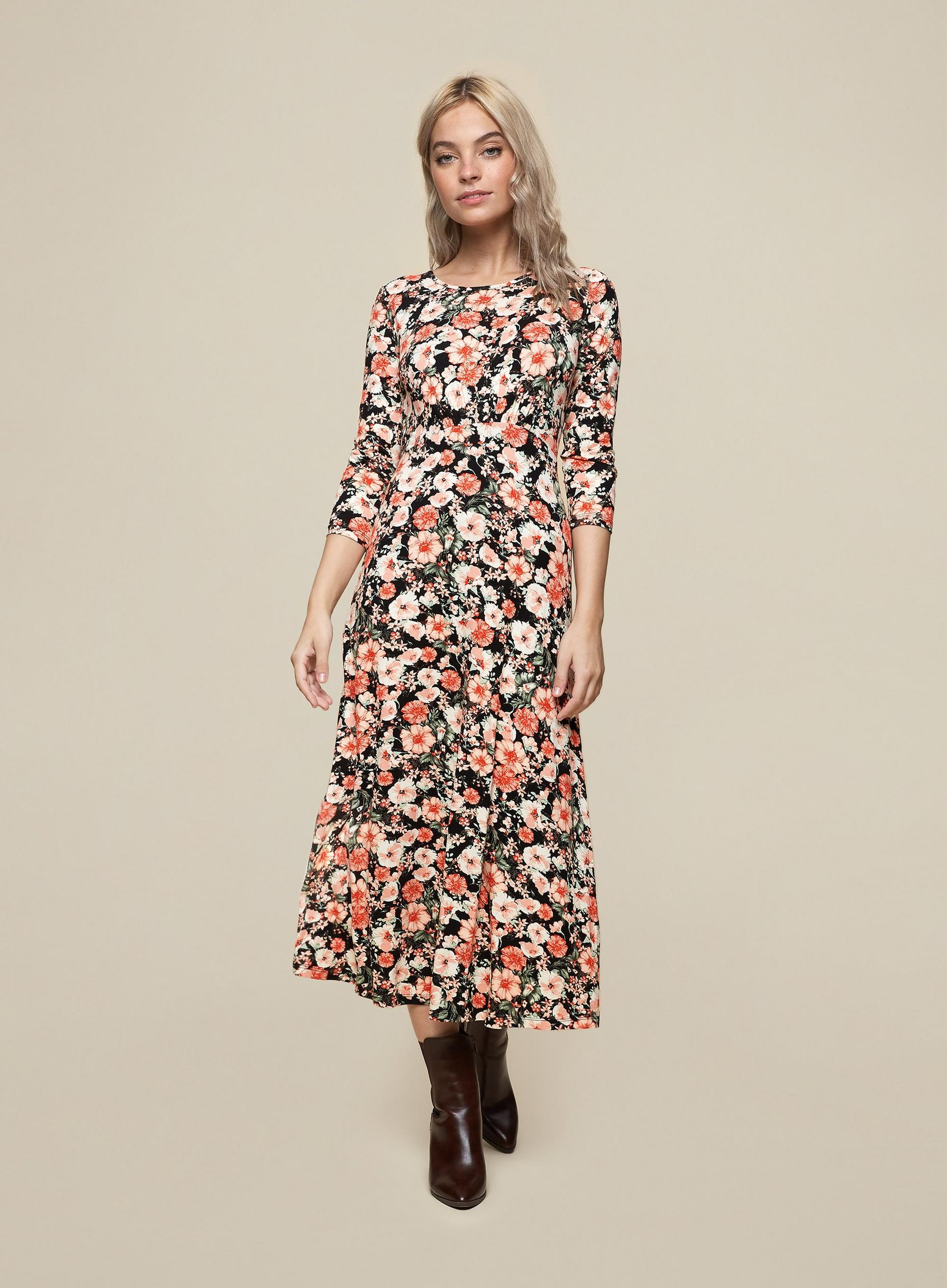 Petite Black Floral Print Midi Dress