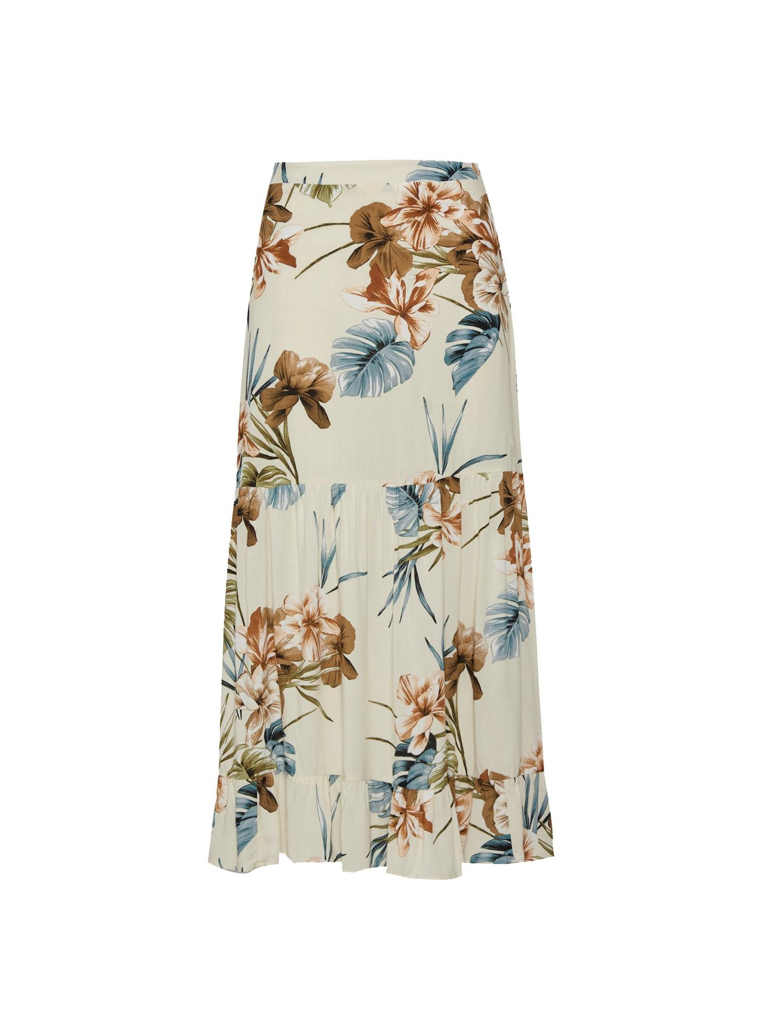 123 Petite Tropical Print Tiered Maxi Skirt image number 2