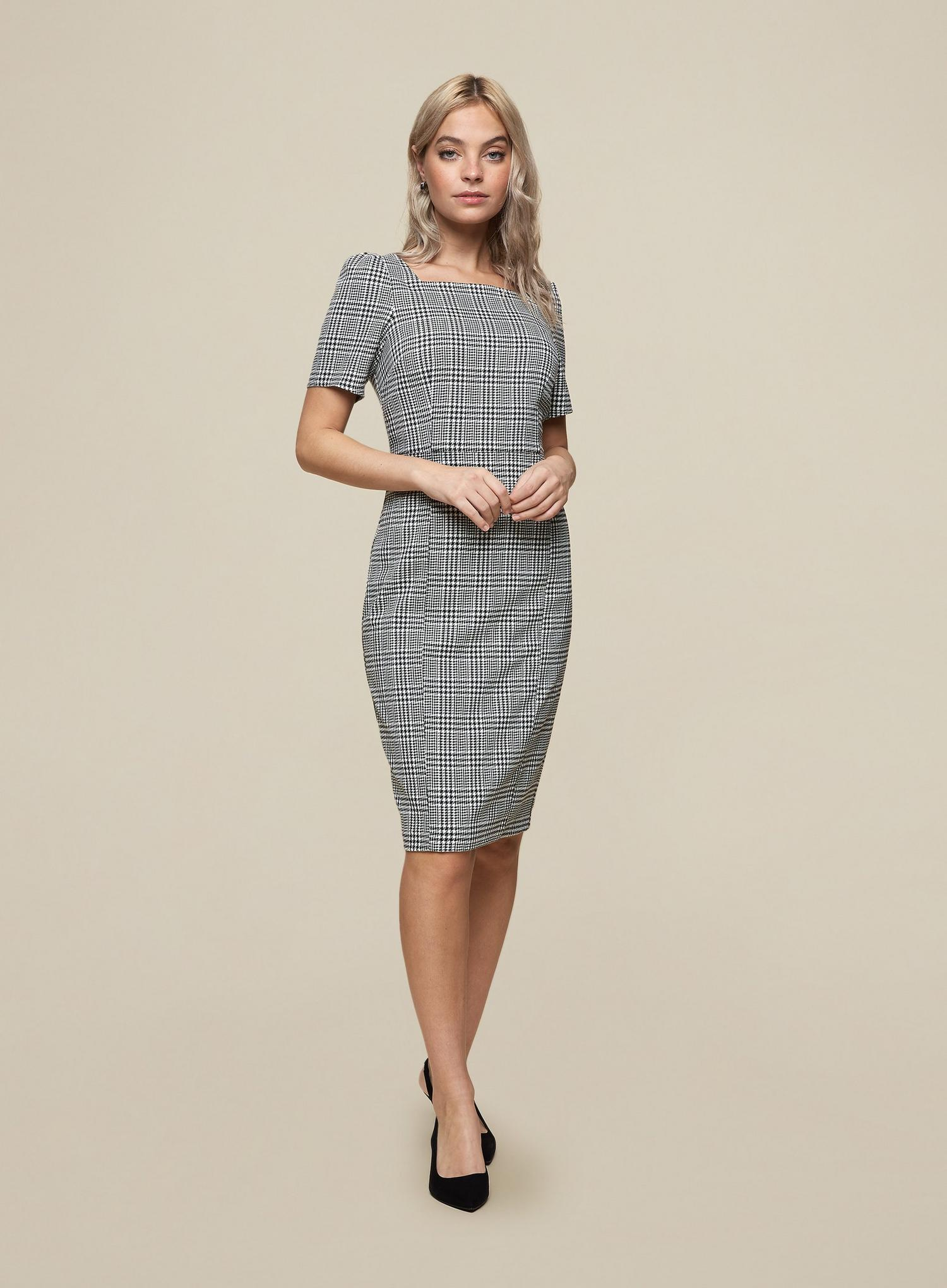 105 Petite Black Check Print Square Neck Dress image number 1