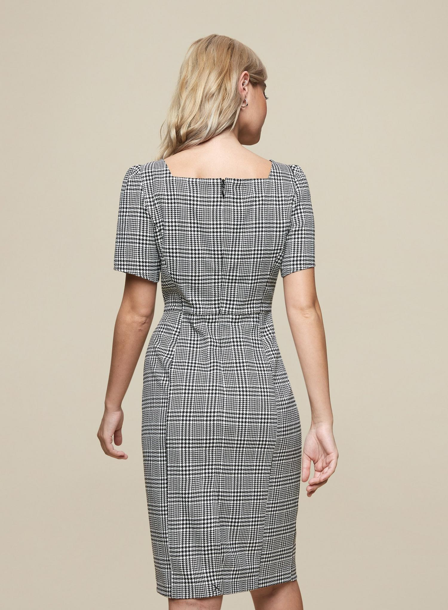 105 Petite Black Check Print Square Neck Dress image number 3