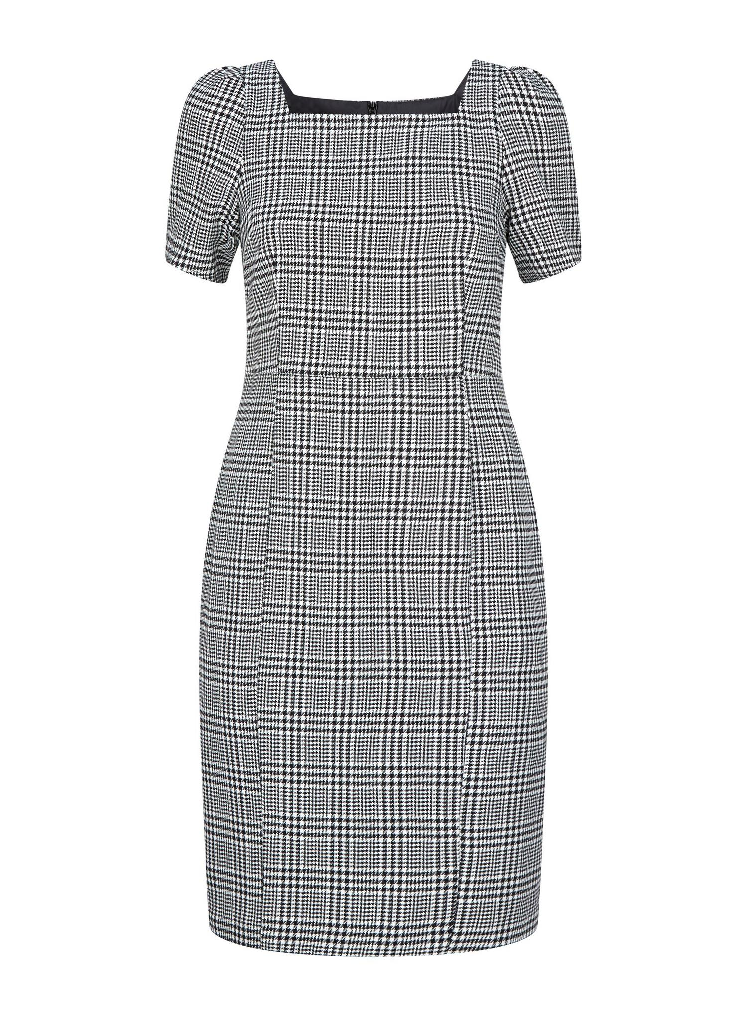 105 Petite Black Check Print Square Neck Dress image number 4