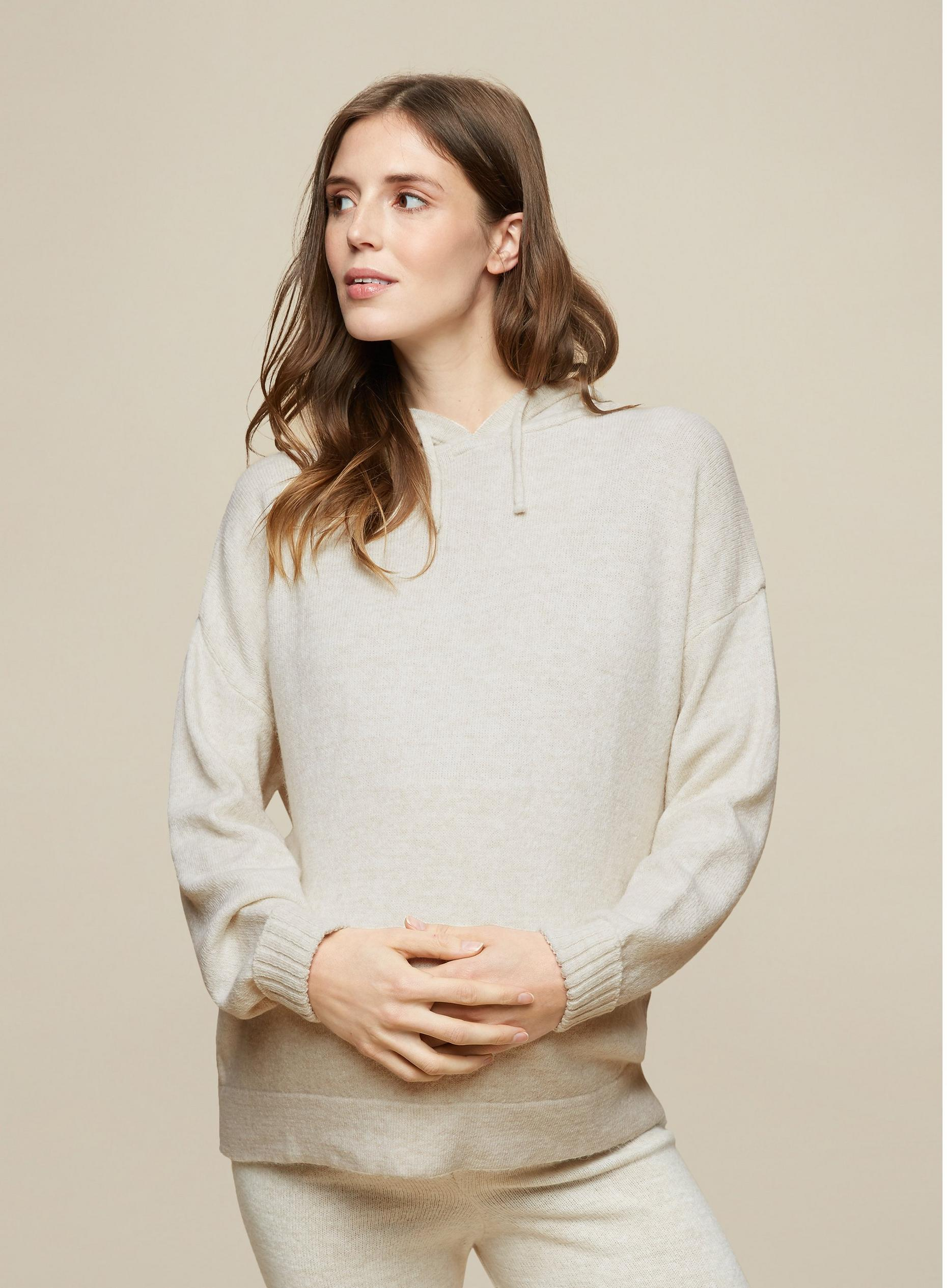 Maternity Beige Lounge Knitted Hoodie
