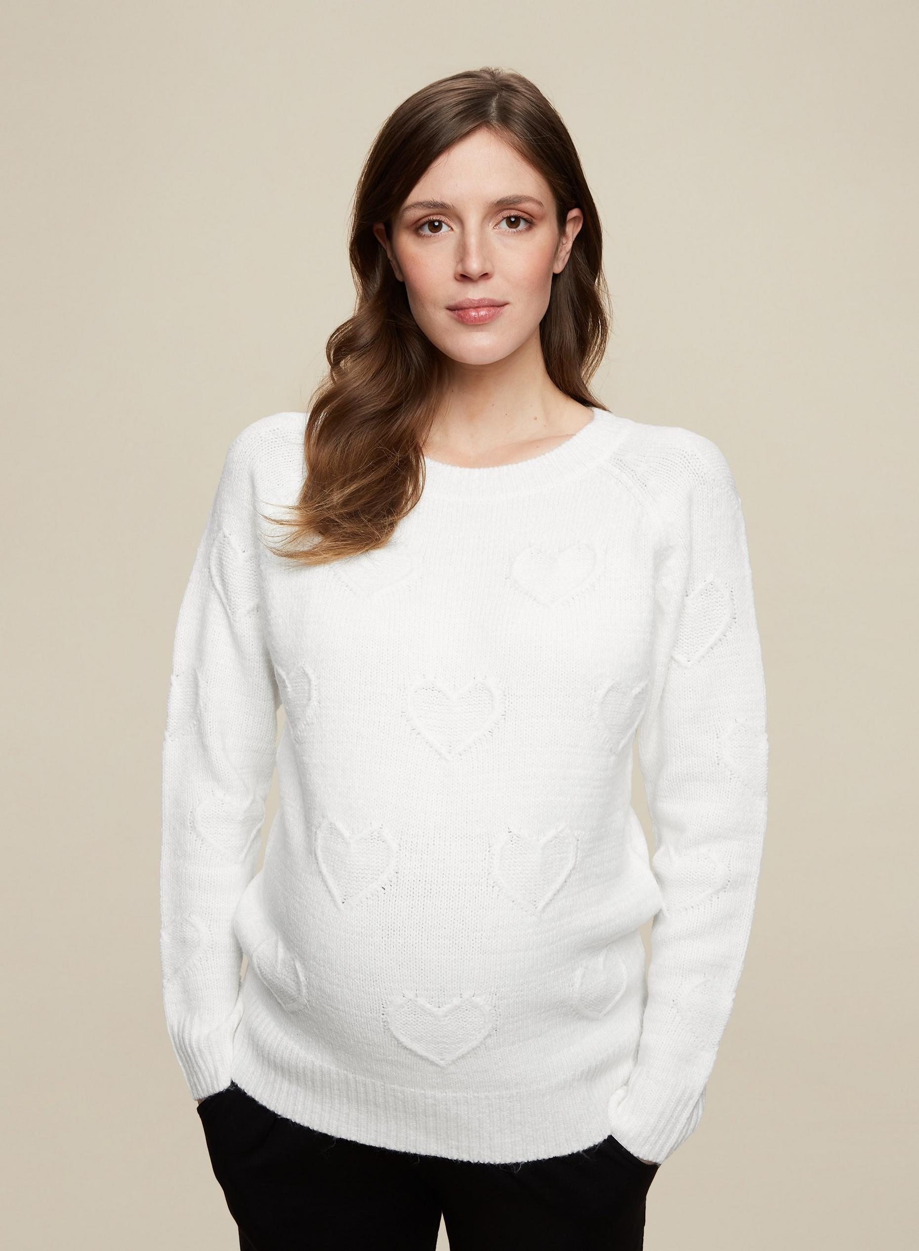 Maternity Ivory Heart Jumper