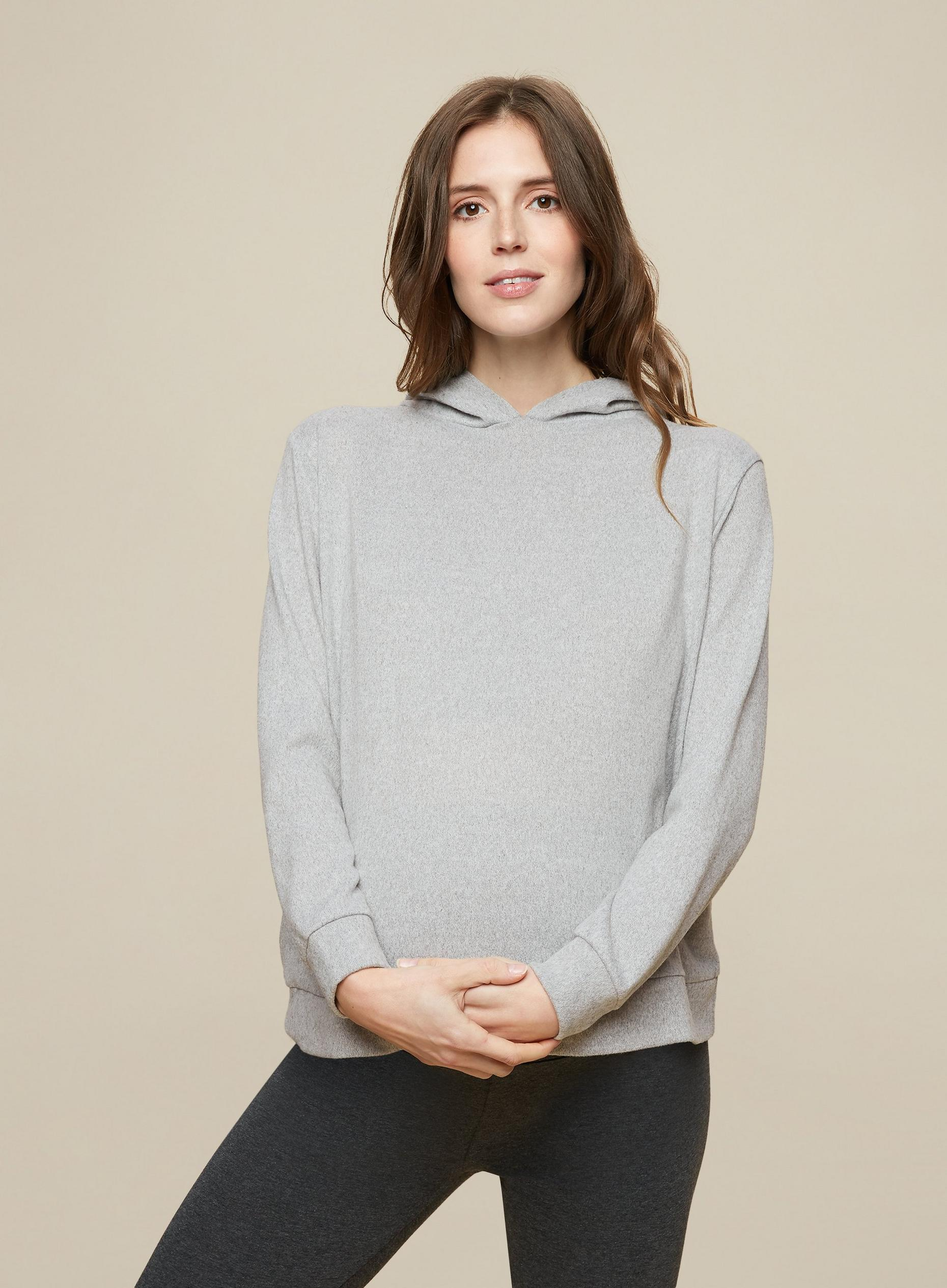 Maternity Grey Brushed Hoodie