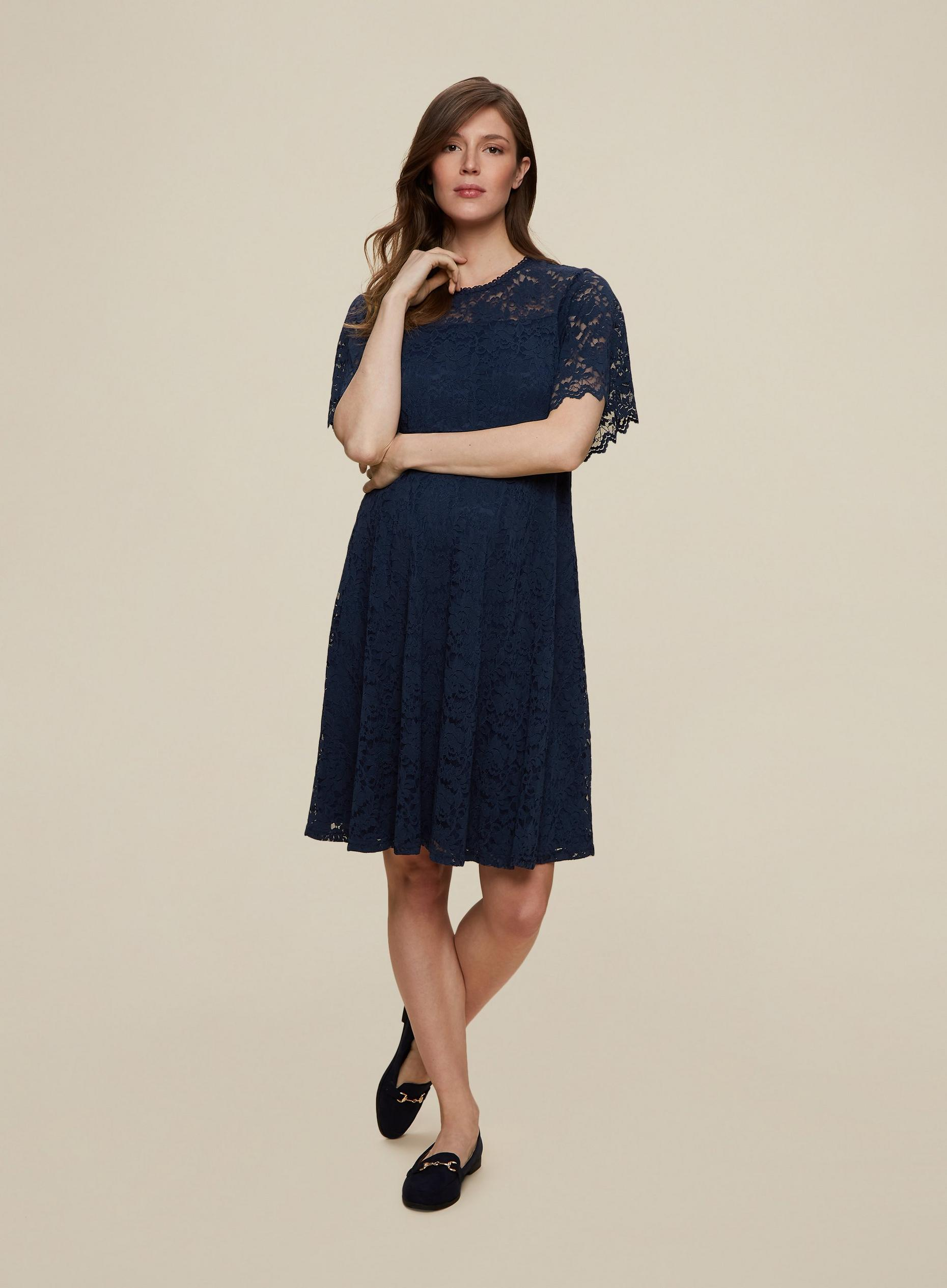 Maternity Navy Lace Skater Dress