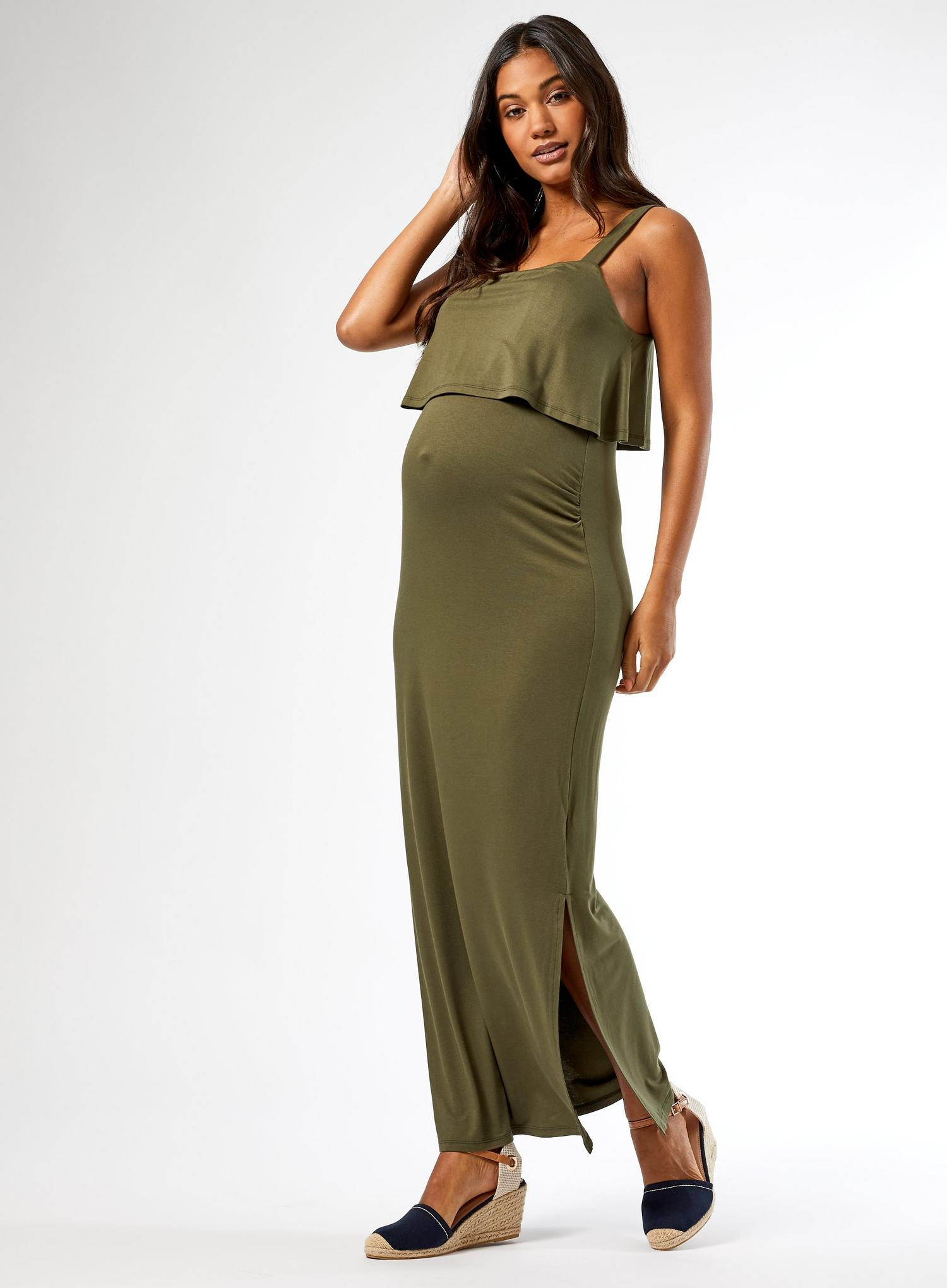 130 Maternity Khaki Camisole Maxi Dress image number 1