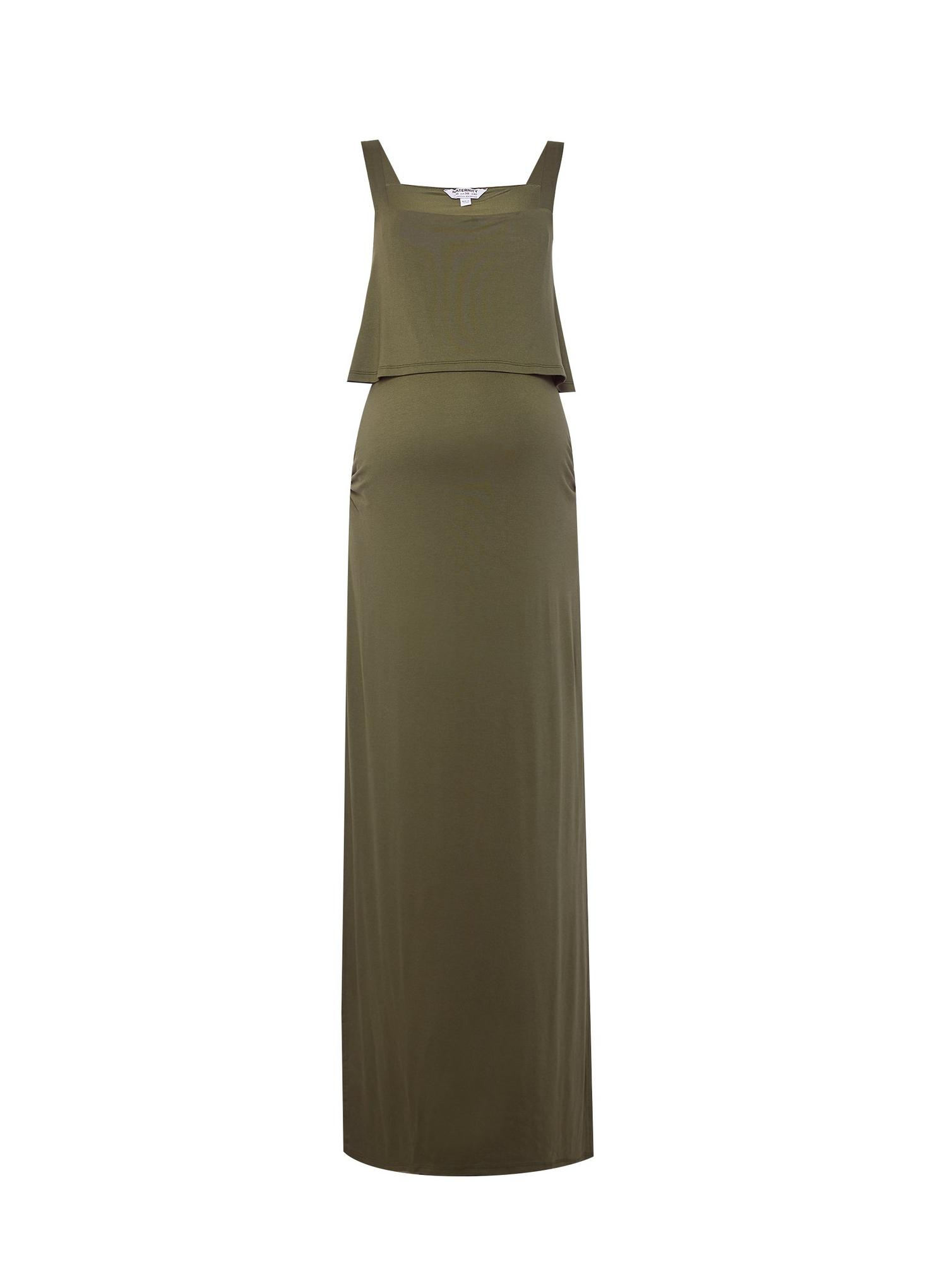 130 Maternity Khaki Camisole Maxi Dress image number 2