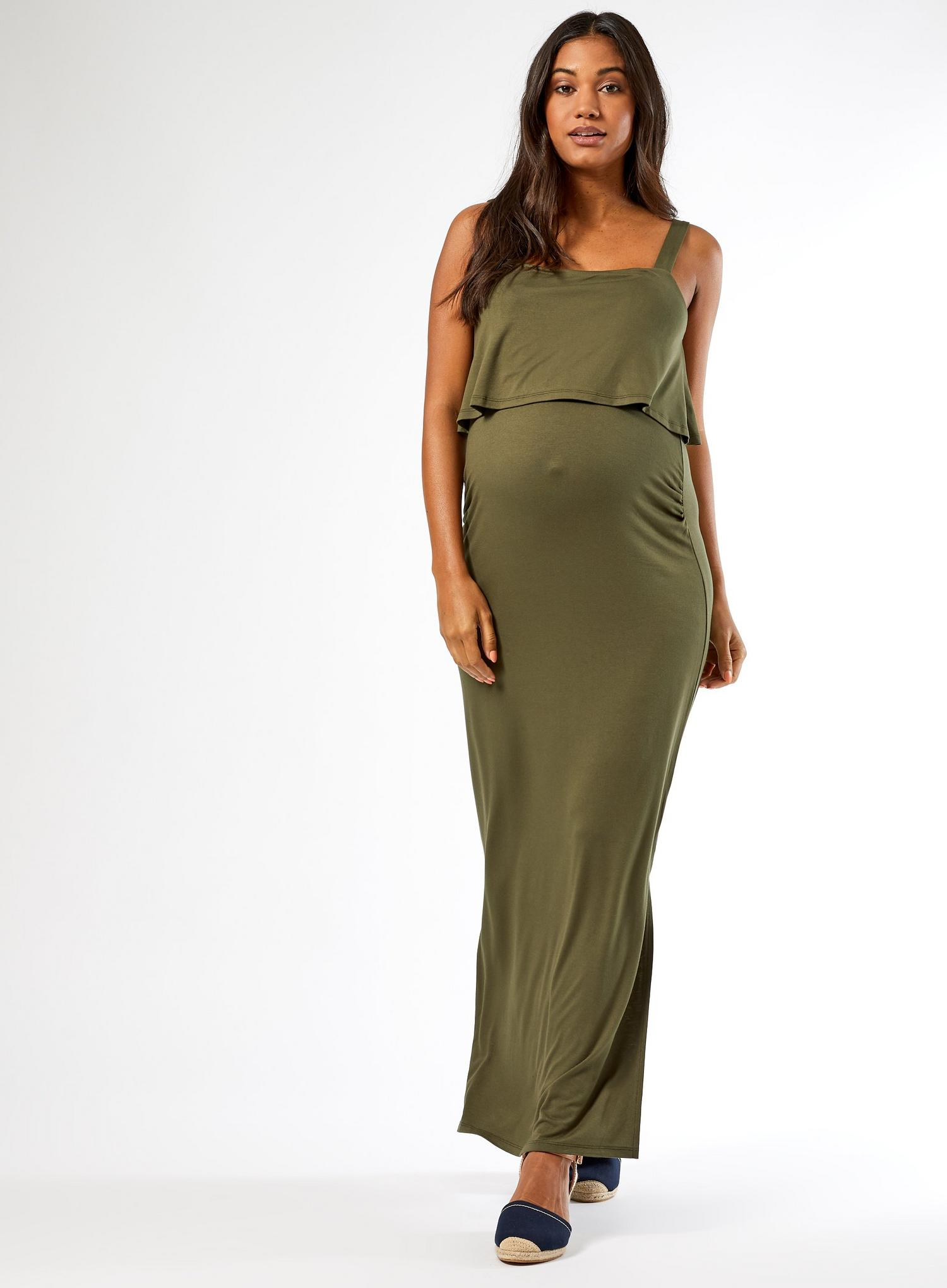130 Maternity Khaki Camisole Maxi Dress image number 3