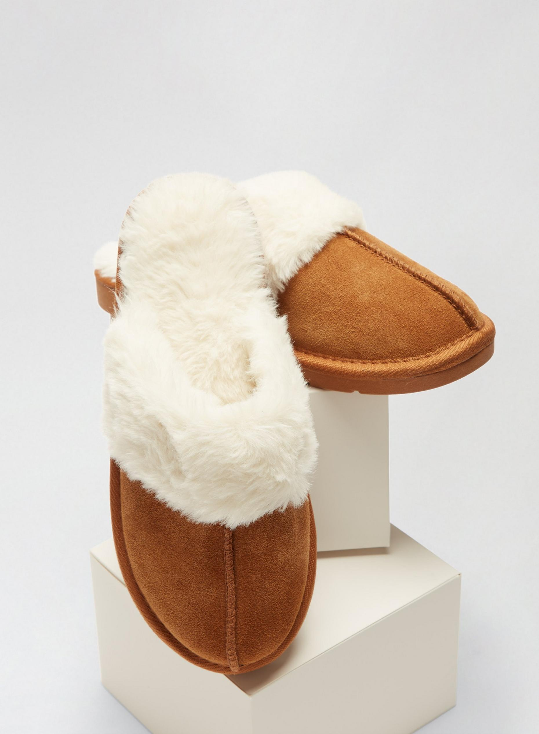 Brown Suede Slippers