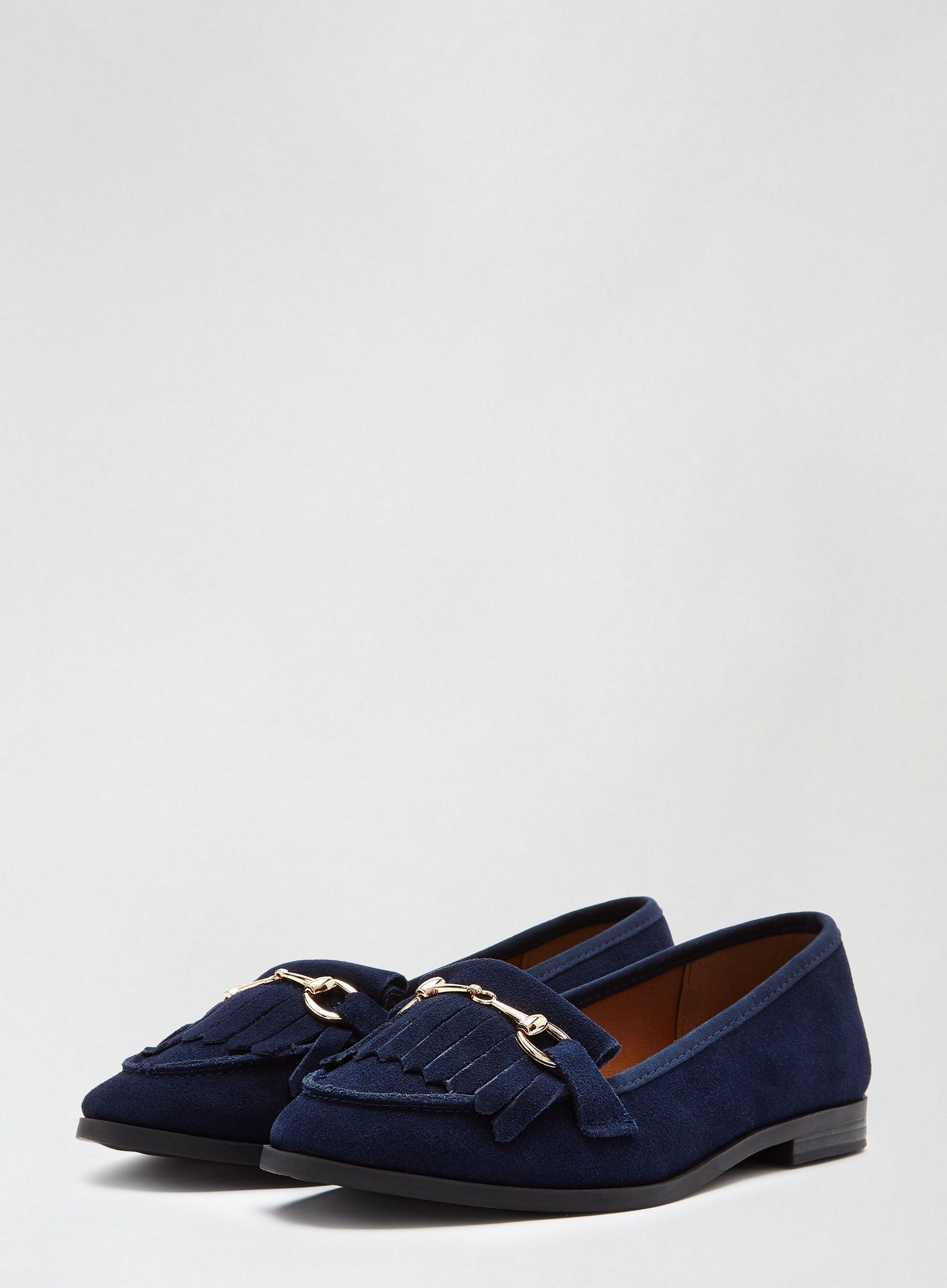 Navy Lime Leather Loafers