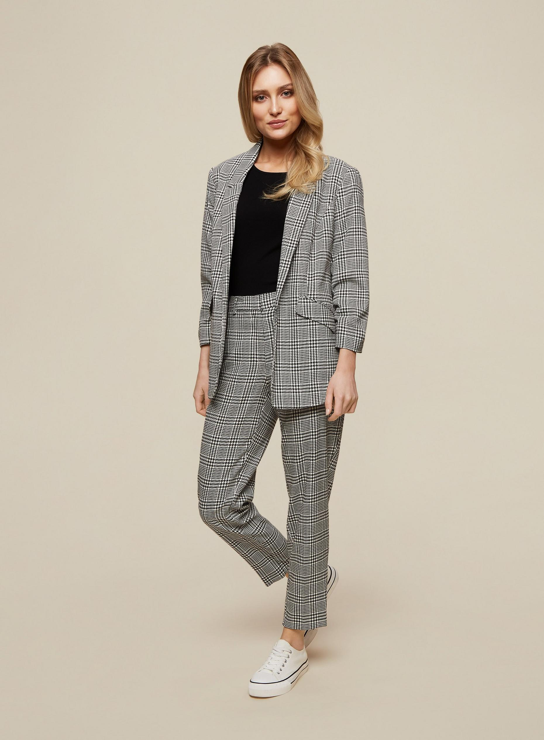Black Check Ruched Sleeve Jacket