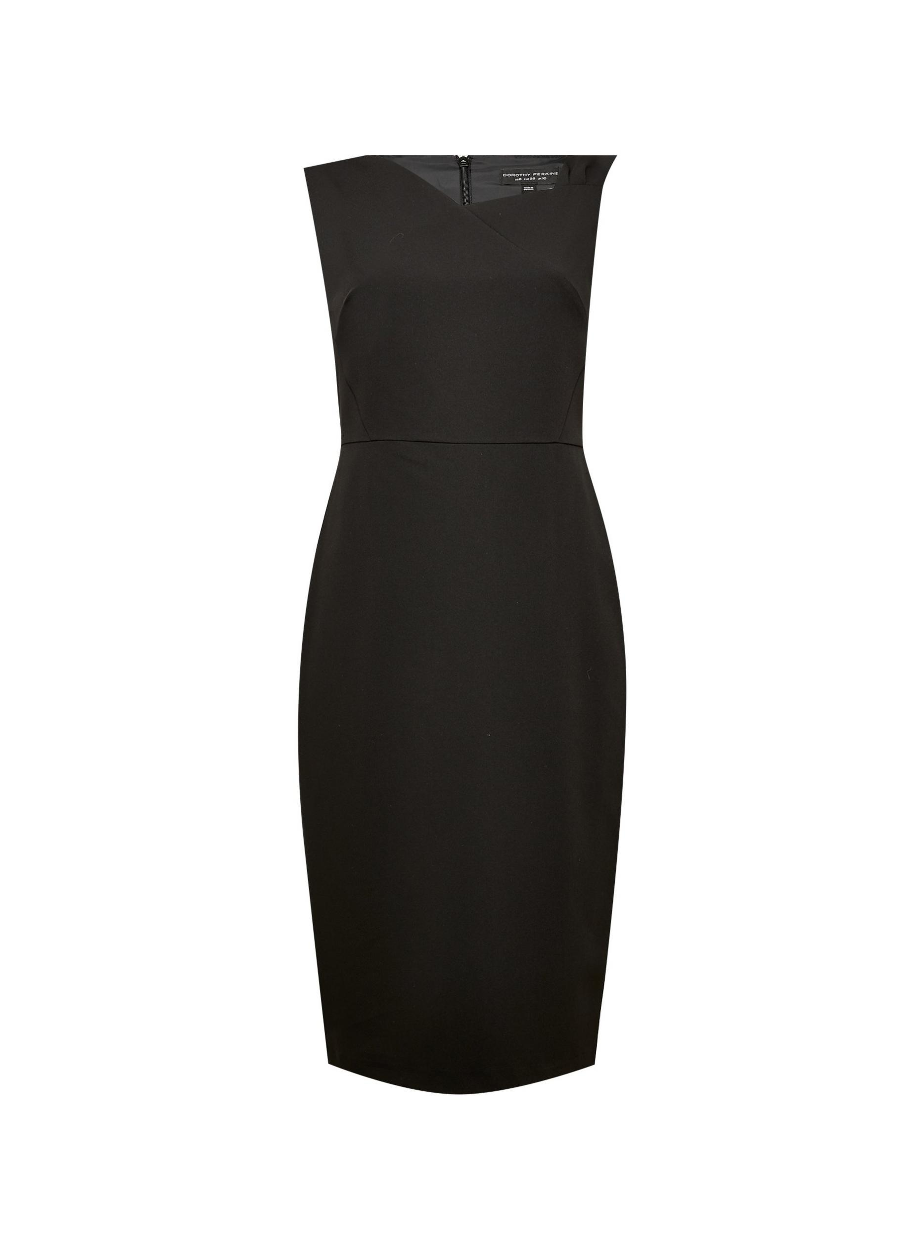 Black Asymmetric Neck Pencil Dress