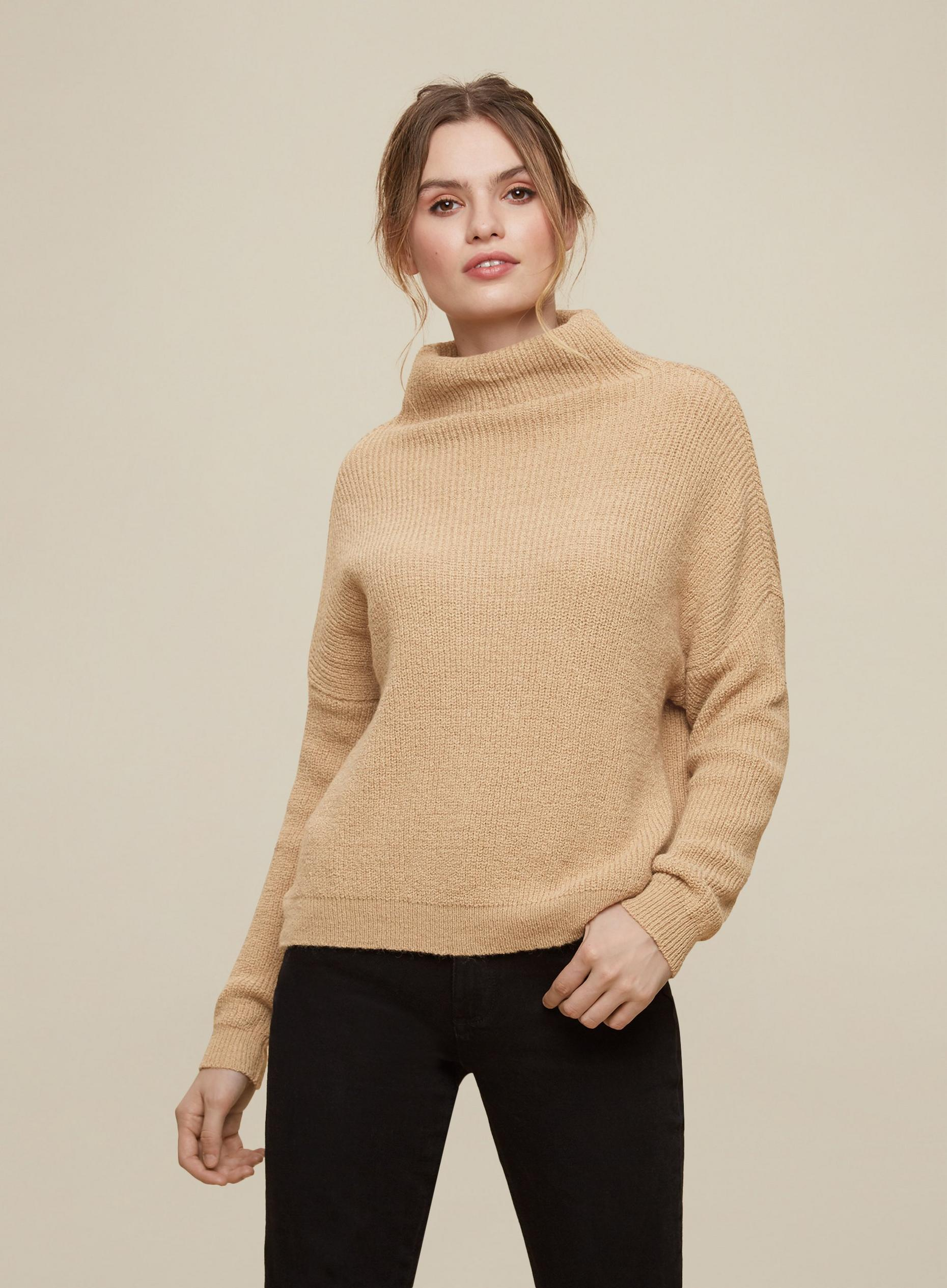 Camel Slouchy Batwing Sleeve Jumper