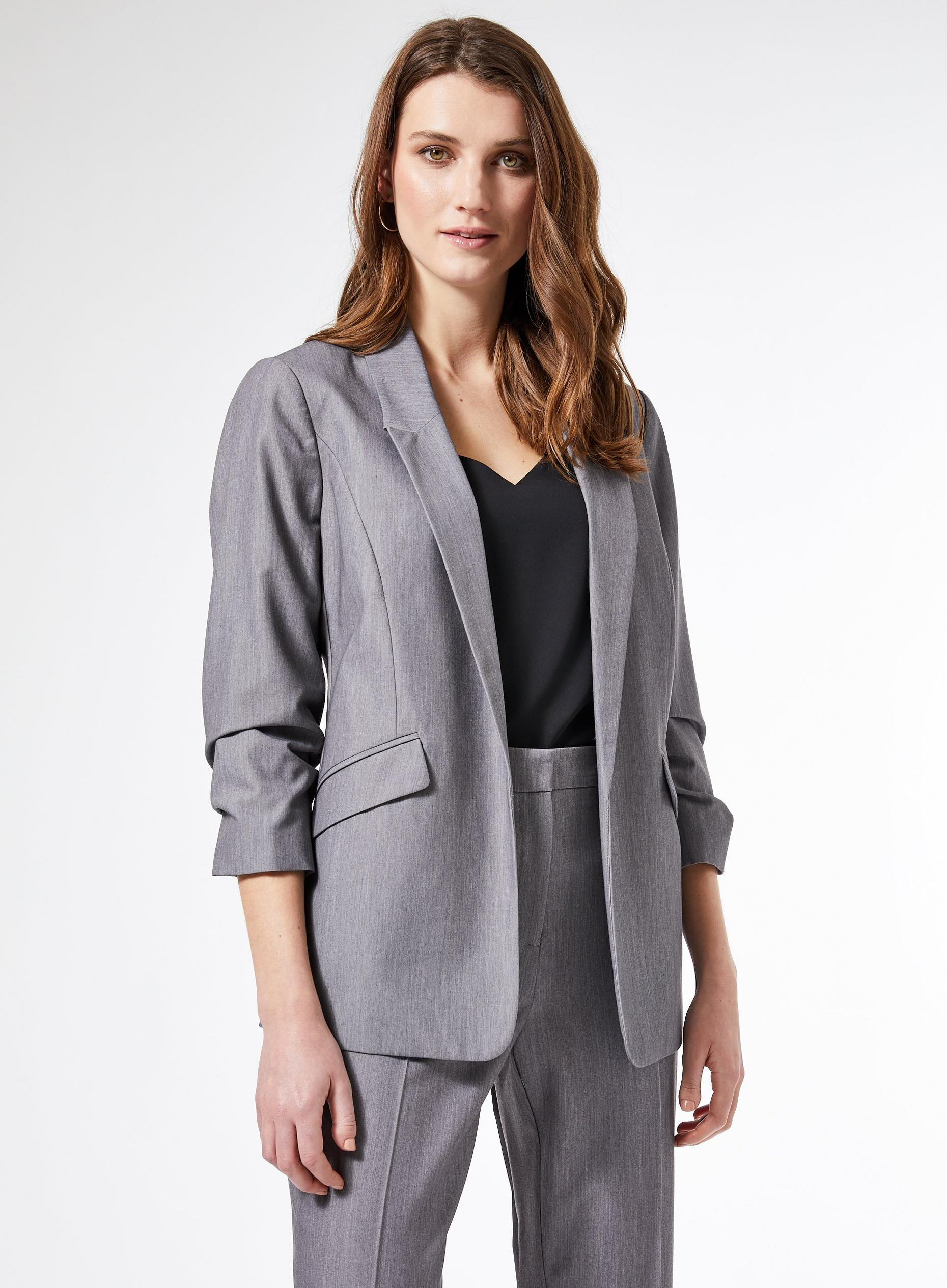 Grey Ruched Sleeve Jacket