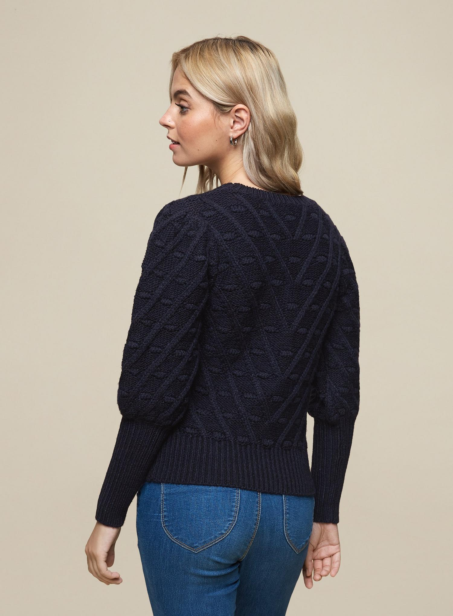 148 DP Petite Navy Blue Bobble Jumper image number 2