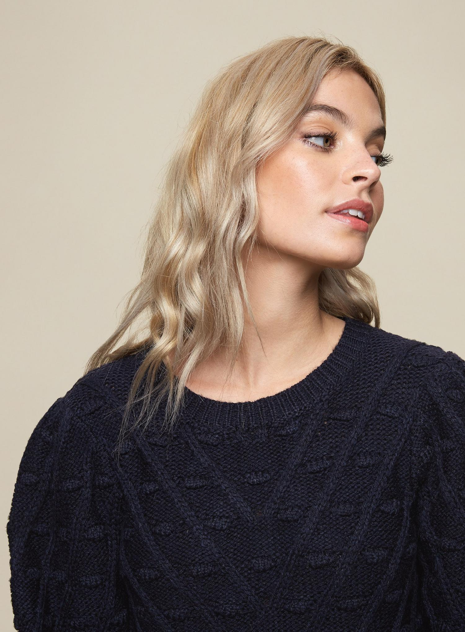 148 DP Petite Navy Blue Bobble Jumper image number 3