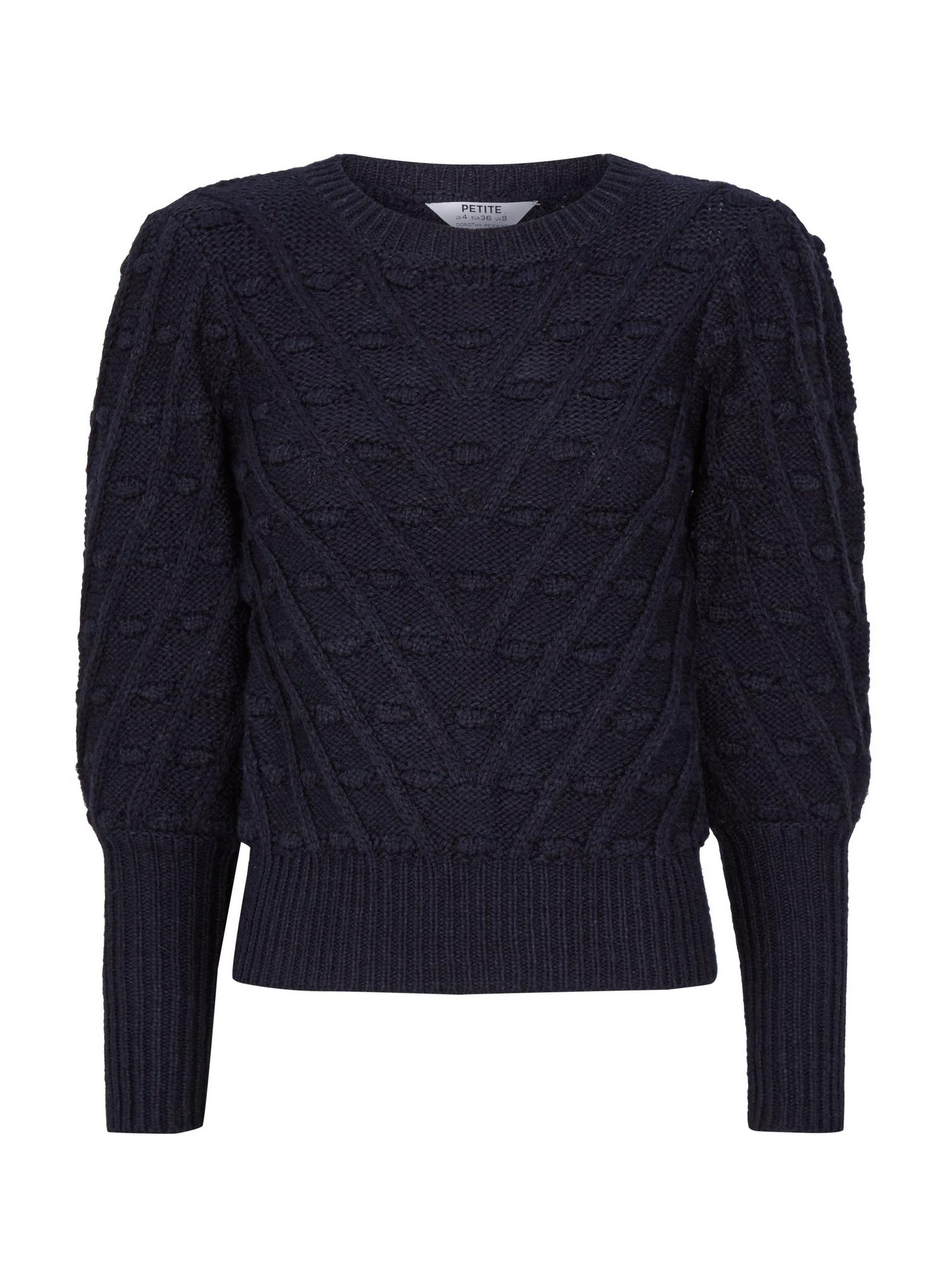 148 DP Petite Navy Blue Bobble Jumper image number 4