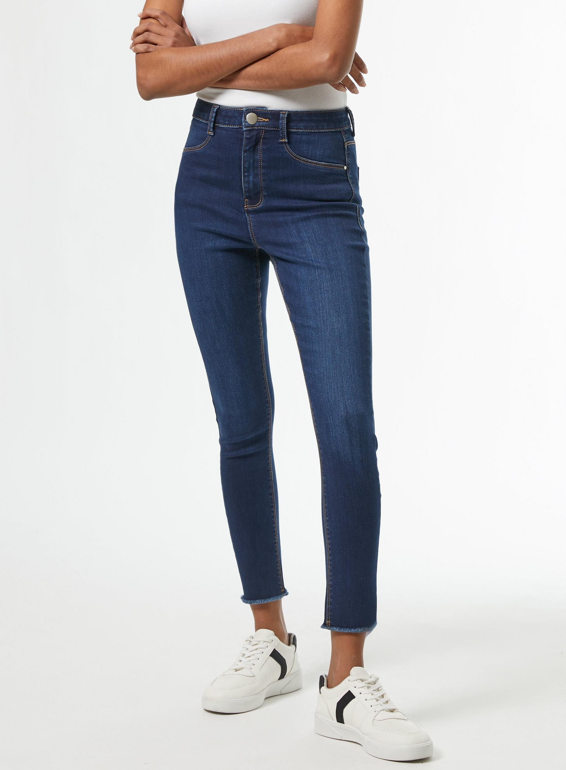 Petite Blue Raw Hem Frankie Denim Jeans