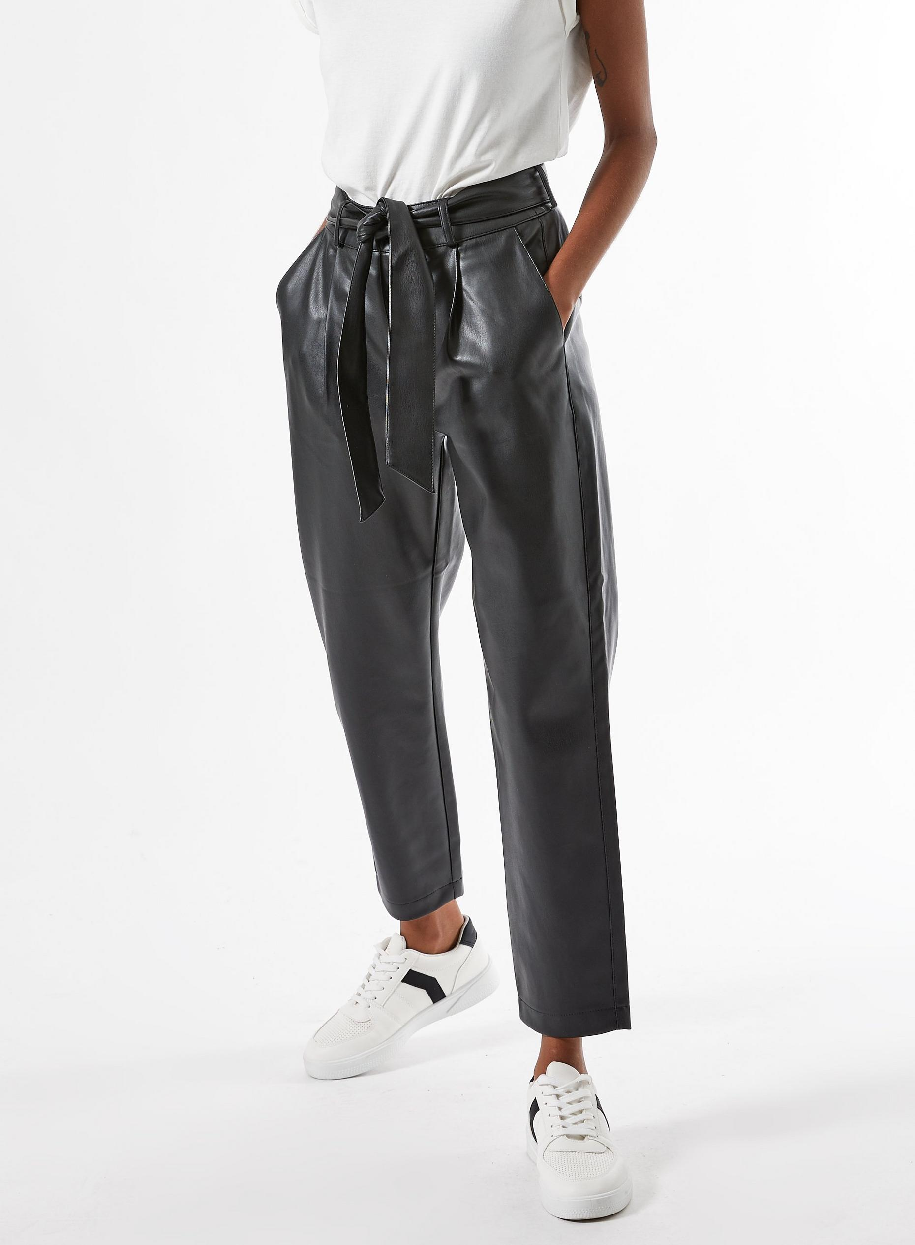 DP Petite Black Belted PU Trousers