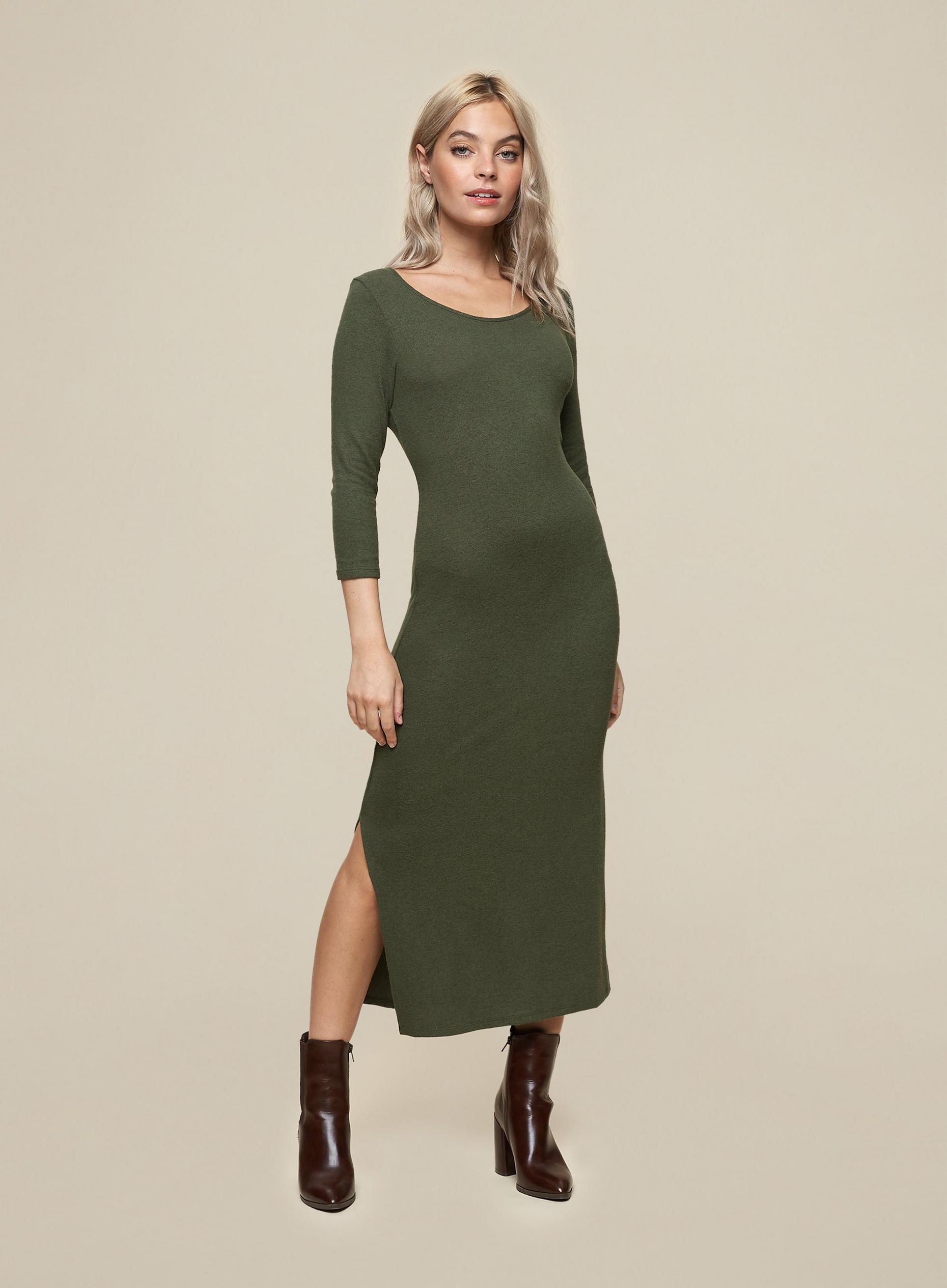 DP Petite Khaki 3/4 Sleeve Midi Dress