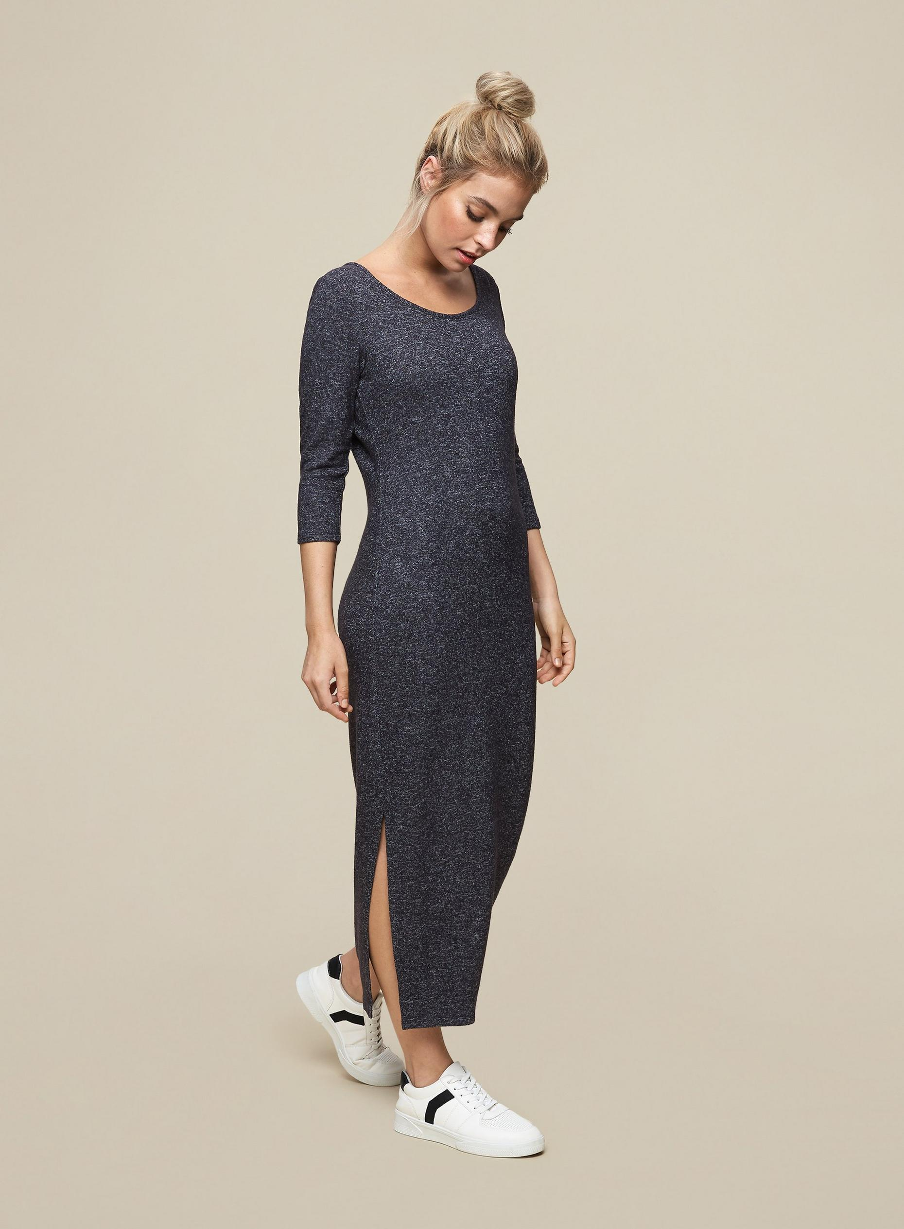 Petite Charcoal 3 Quarter Sleeve Brushed Midi