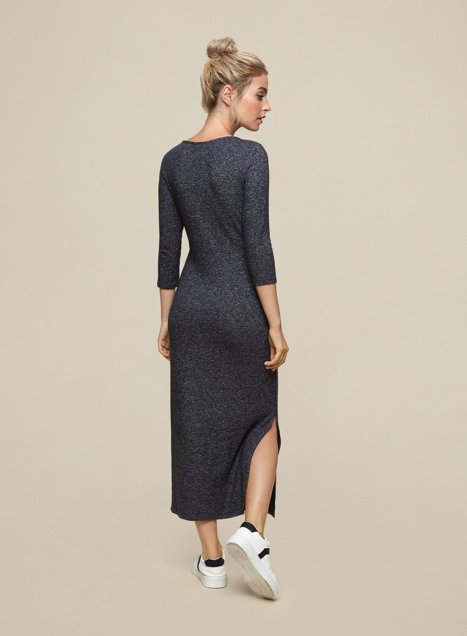 131 Petite Charcoal 3 Quarter Sleeve Brushed Midi  image number 2