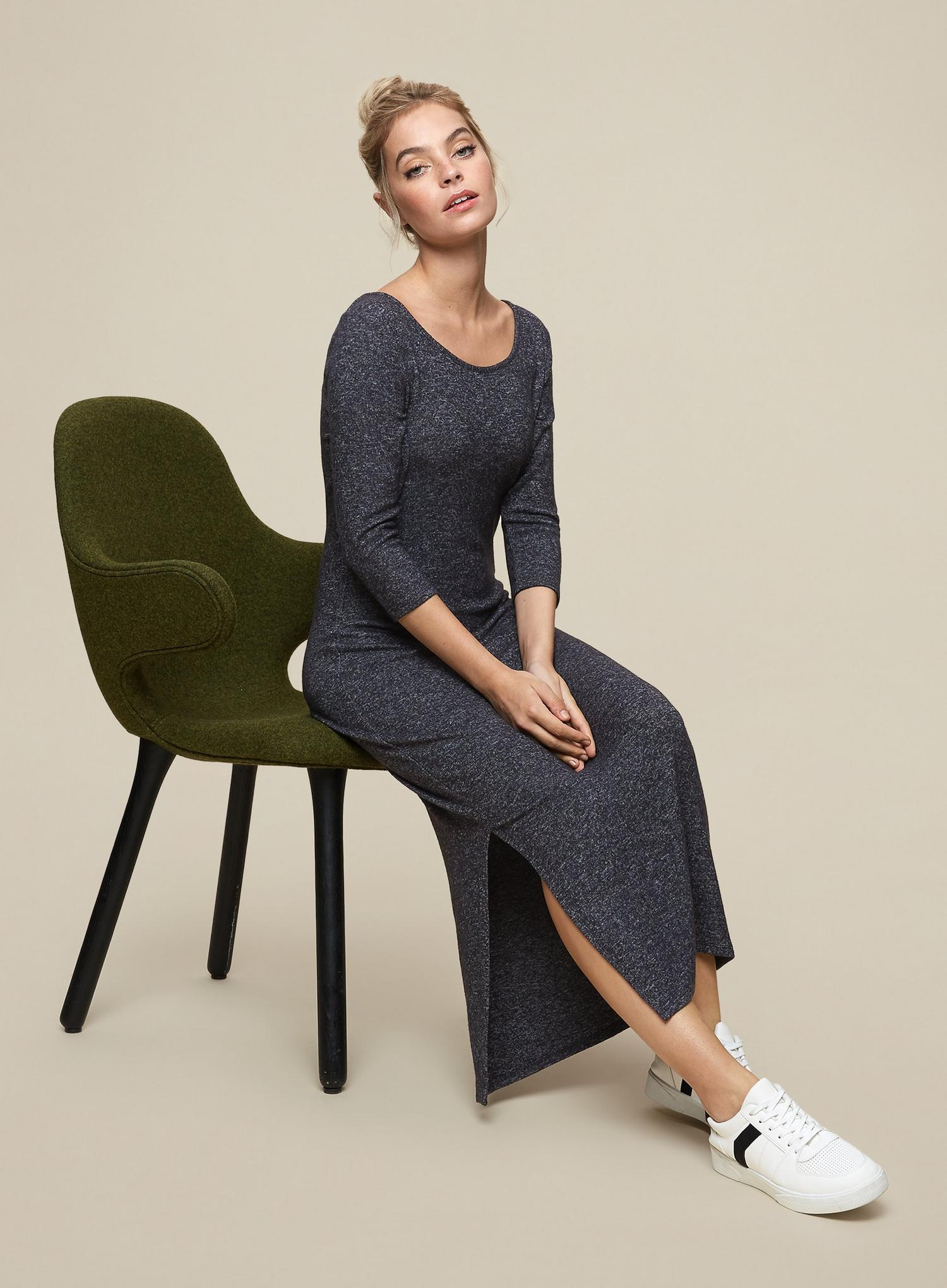 131 Petite Charcoal 3 Quarter Sleeve Brushed Midi  image number 4