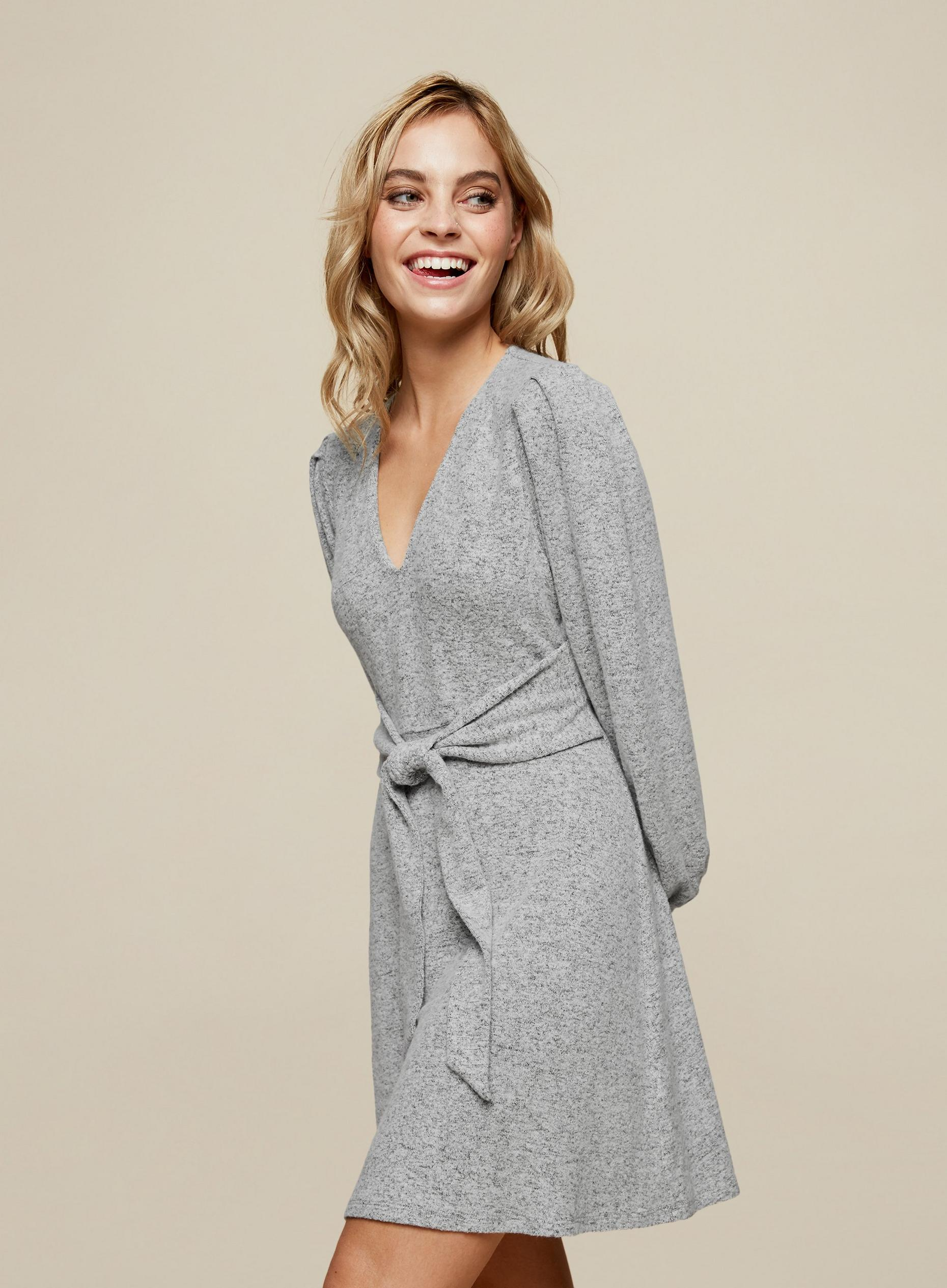 Petite Grey Tie Detail Brushed Dress